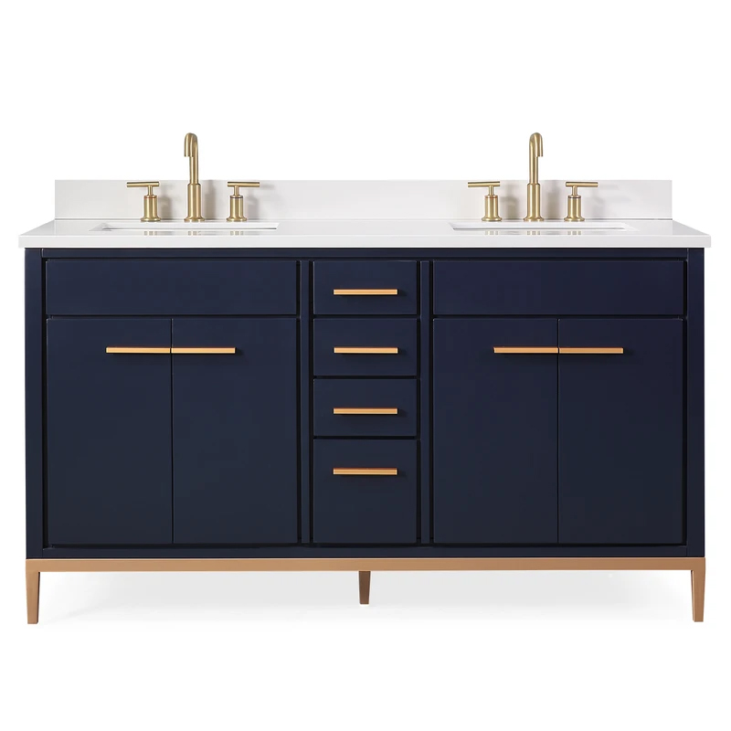 "60"" Modern Style Navy Blue Double Sink Bathroom Vanity"