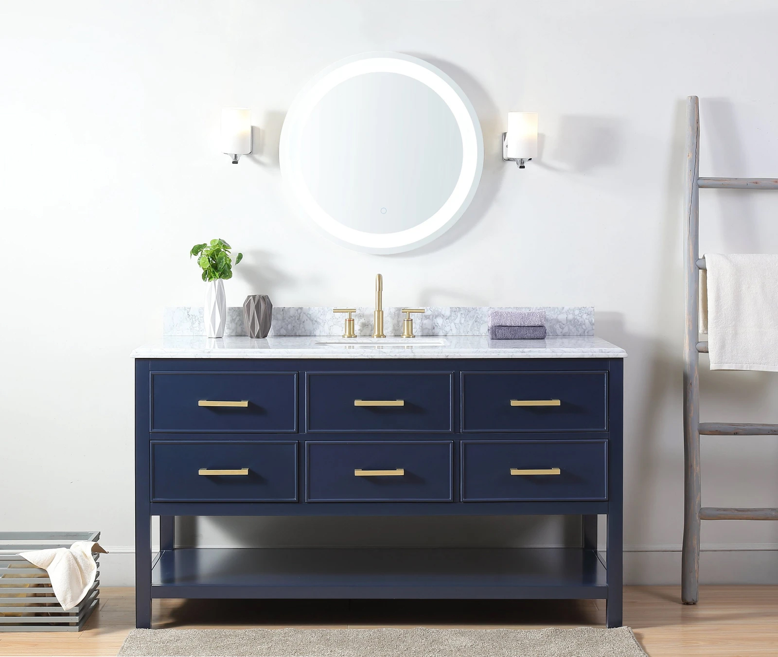 "60"" Italian Carrara Navy Blue Color Finish Single Sink Vanity"