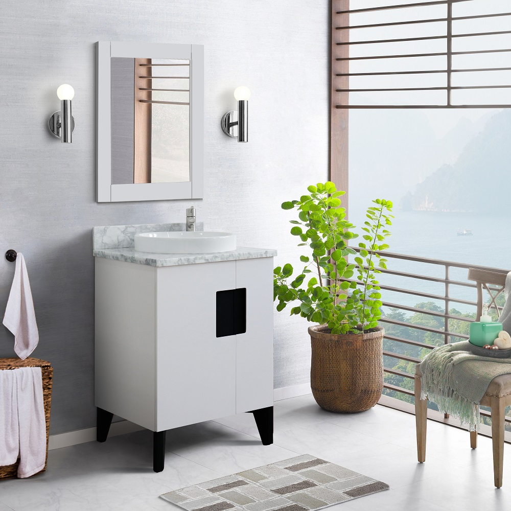 """25"""" Single Sink Vanity in White Finish with Countertop and Sink Options"""