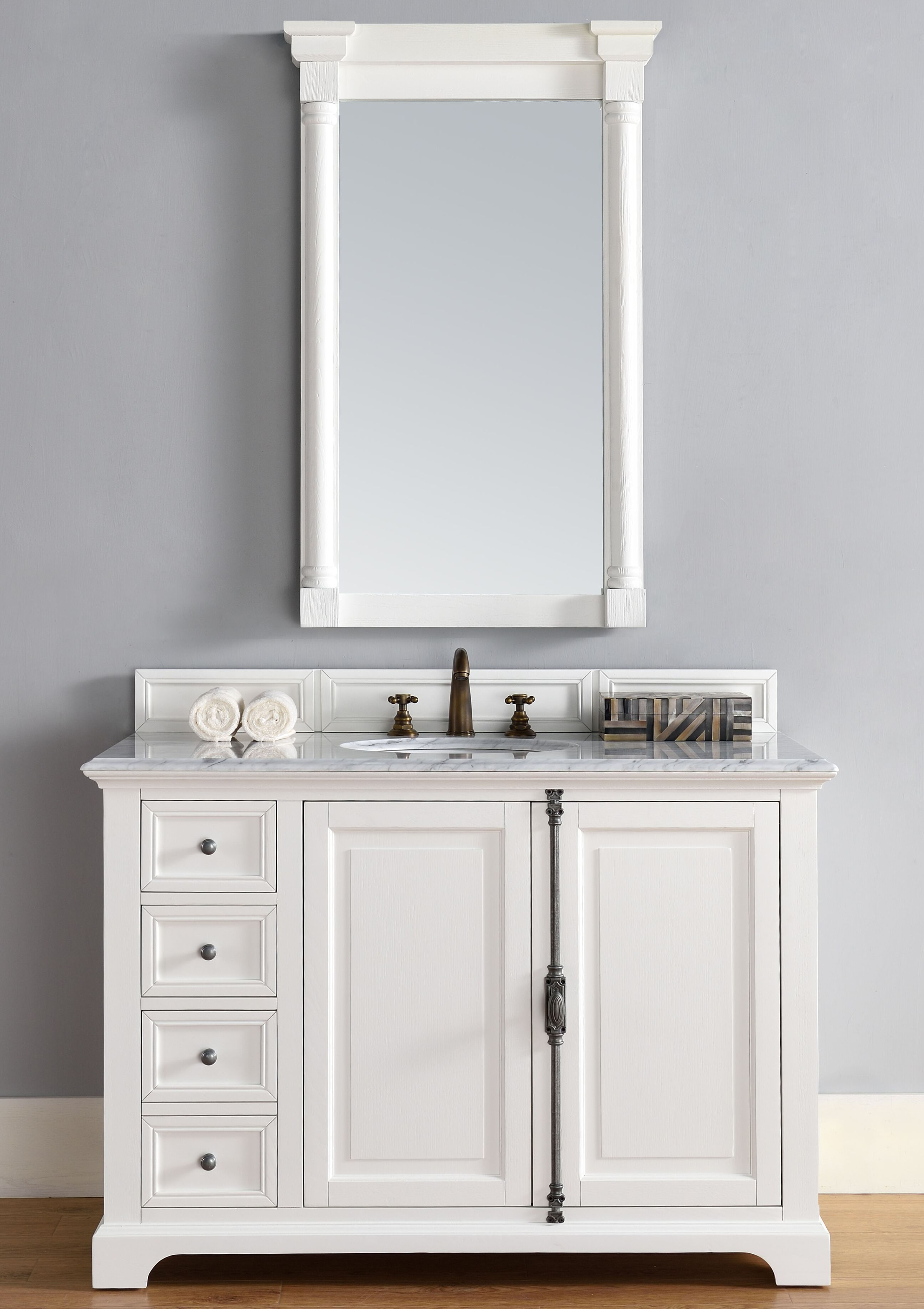 "James Martin Providence Collection 48"" Single Vanity Cabinet, Cottage White Finish"