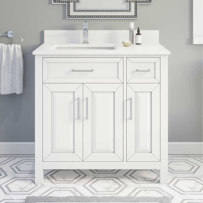 "36"" Single Sink Vanity White Finish with Cultured Marble Countertop with Matching Backsplash"