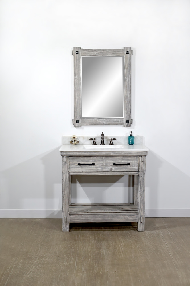 "36""Rustic Solid Fir Single Sink Bathroom Vanity in Grey Driftwood Finish - No Faucet with Countertop Options"