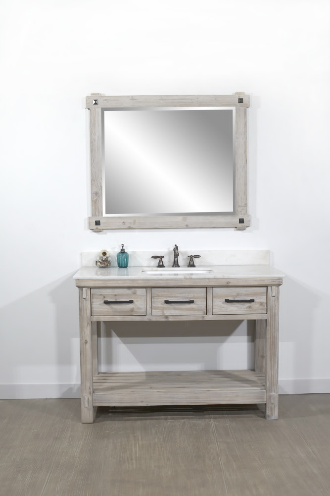 "48"" Rustic Solid Fir Single Sink Bathroom Vanity - No Faucet with Countertop Options"