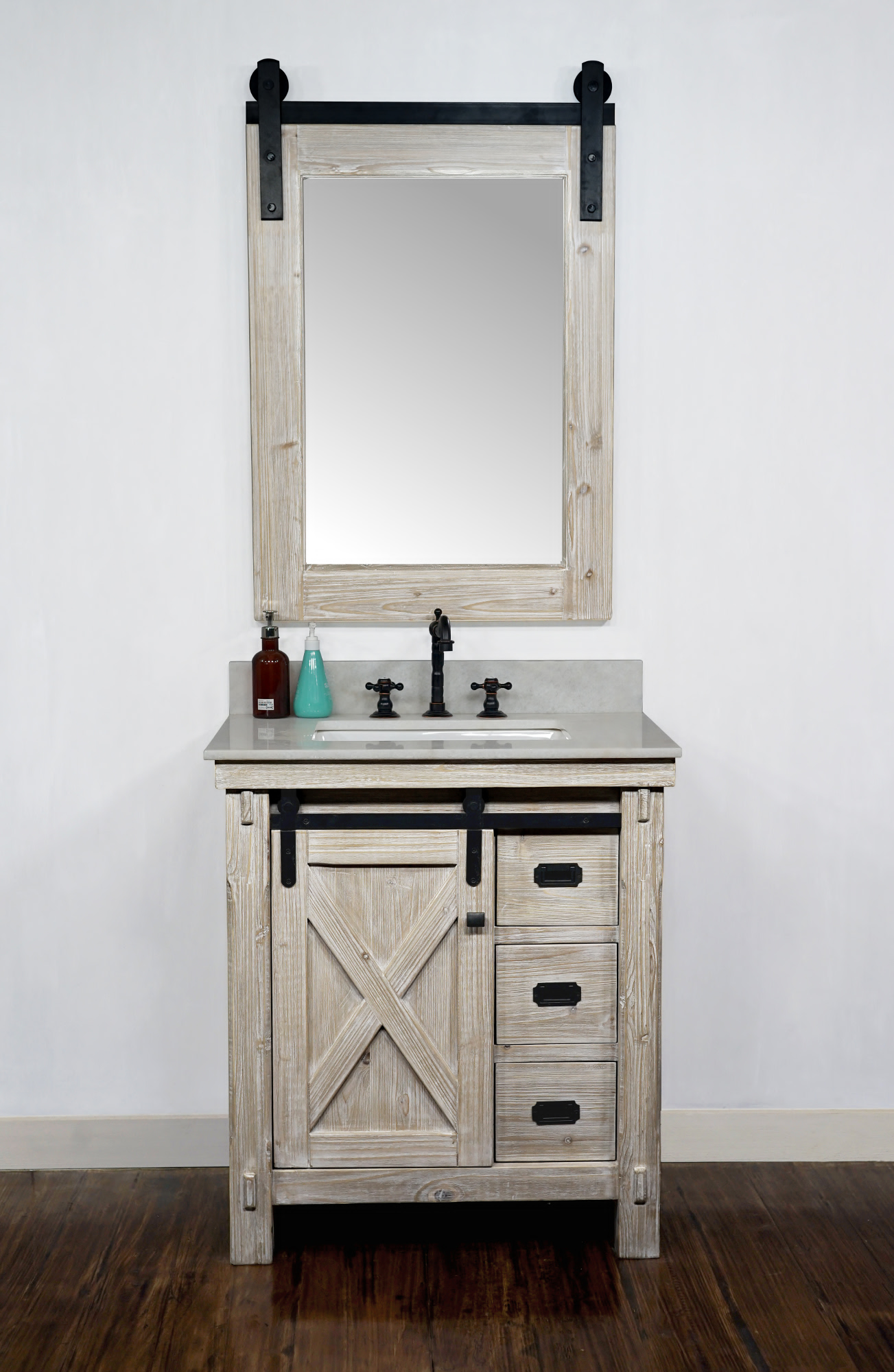 "30"" Rustic Solid Fir Barn Door Style Single Sink Vanity - No Faucet with Countertop Options"