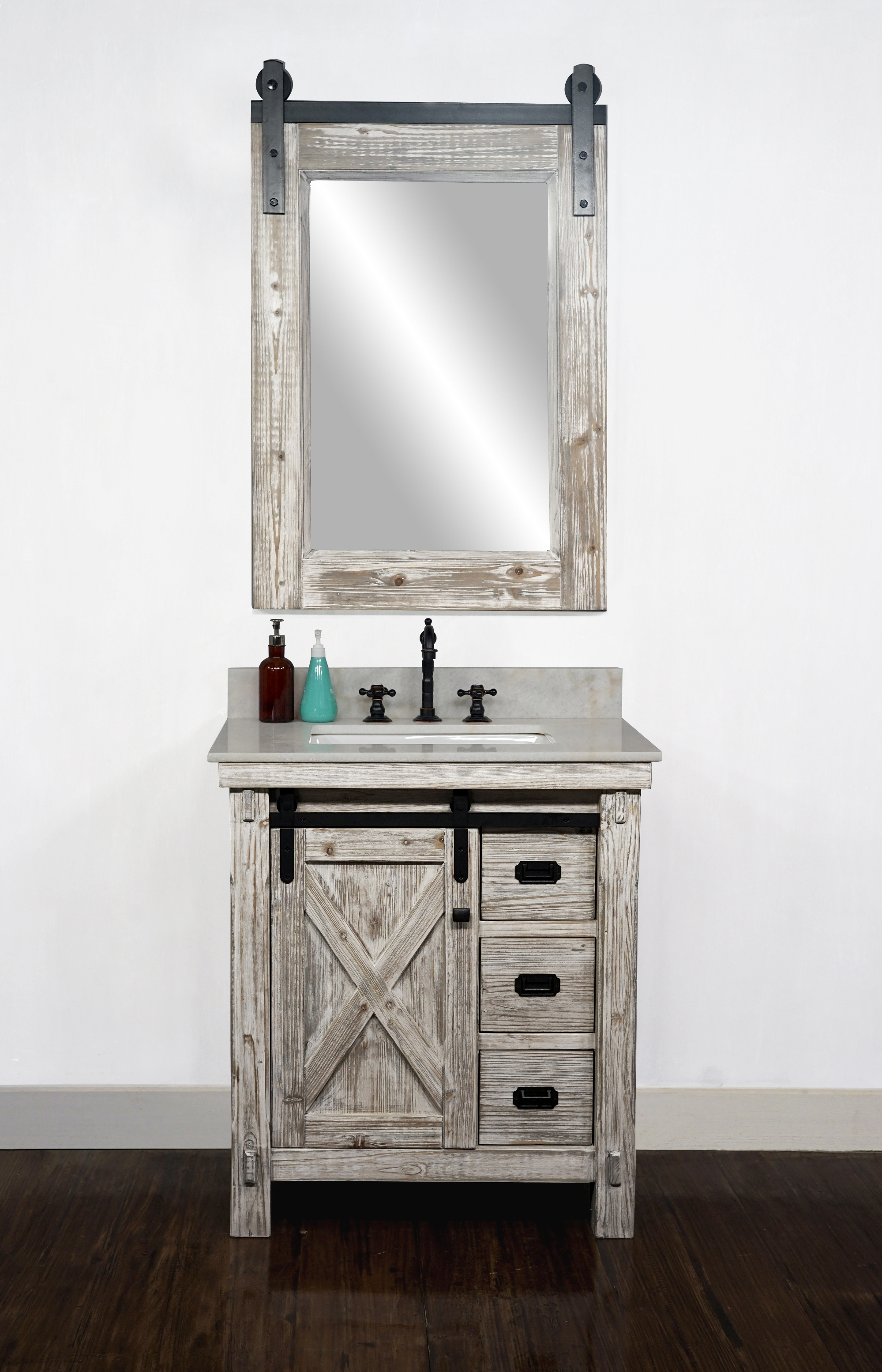 "30"" Rustic Solid Fir Barn Door Style Single Sink Vanity in White Washed - No Faucet with Countertop Options"