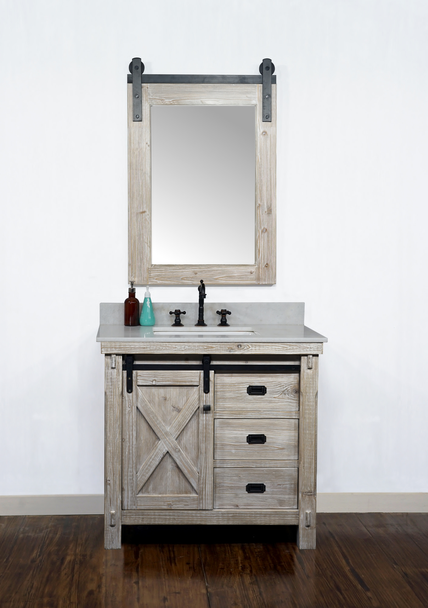 "36"" Rustic Solid Fir Barn Door Style Single Sink Vanity - No Faucet with Countertop Options"