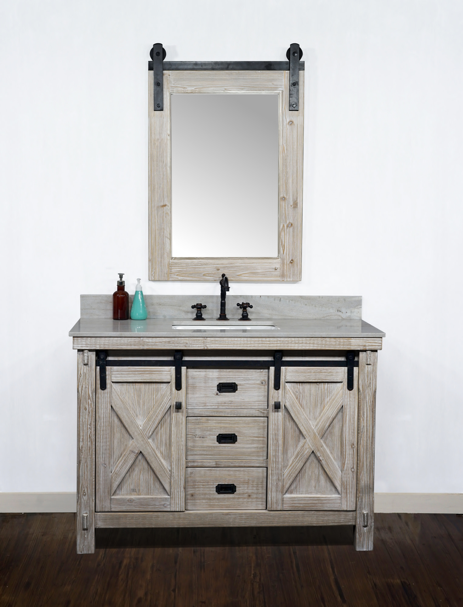 "48"" Rustic Solid Fir Barn Door Style Single Sink Vanity - No Faucet with Countertop Options"