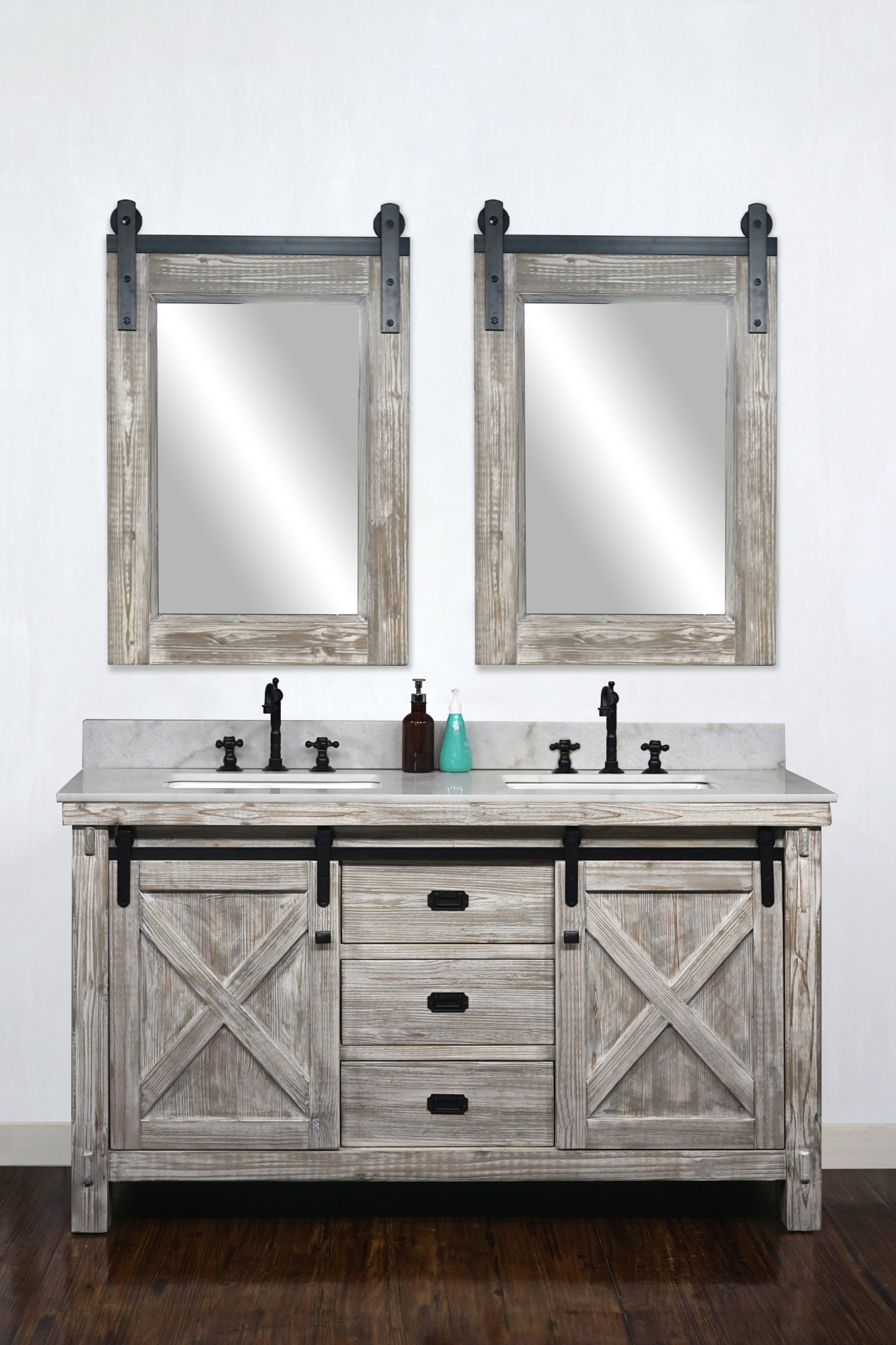 "60"" Rustic Solid Fir Barn Door Style Double Sink Vanity in White Washed - No Faucet with Countertop Options"