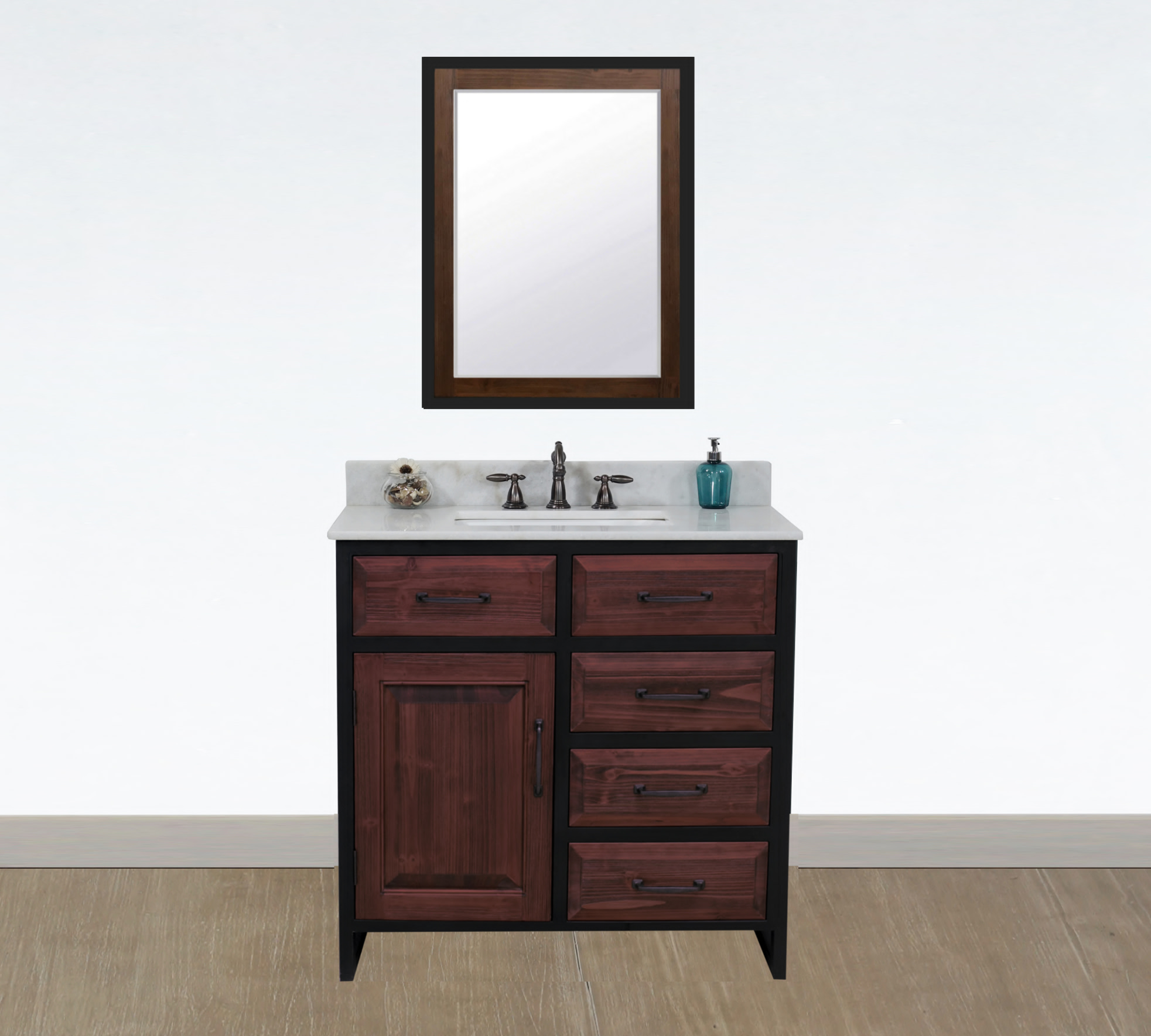 "36"" Rustic Solid Fir Single Sink with Iron Frame Vanity in Brown Driftwood - No Faucet with Countertop Options"