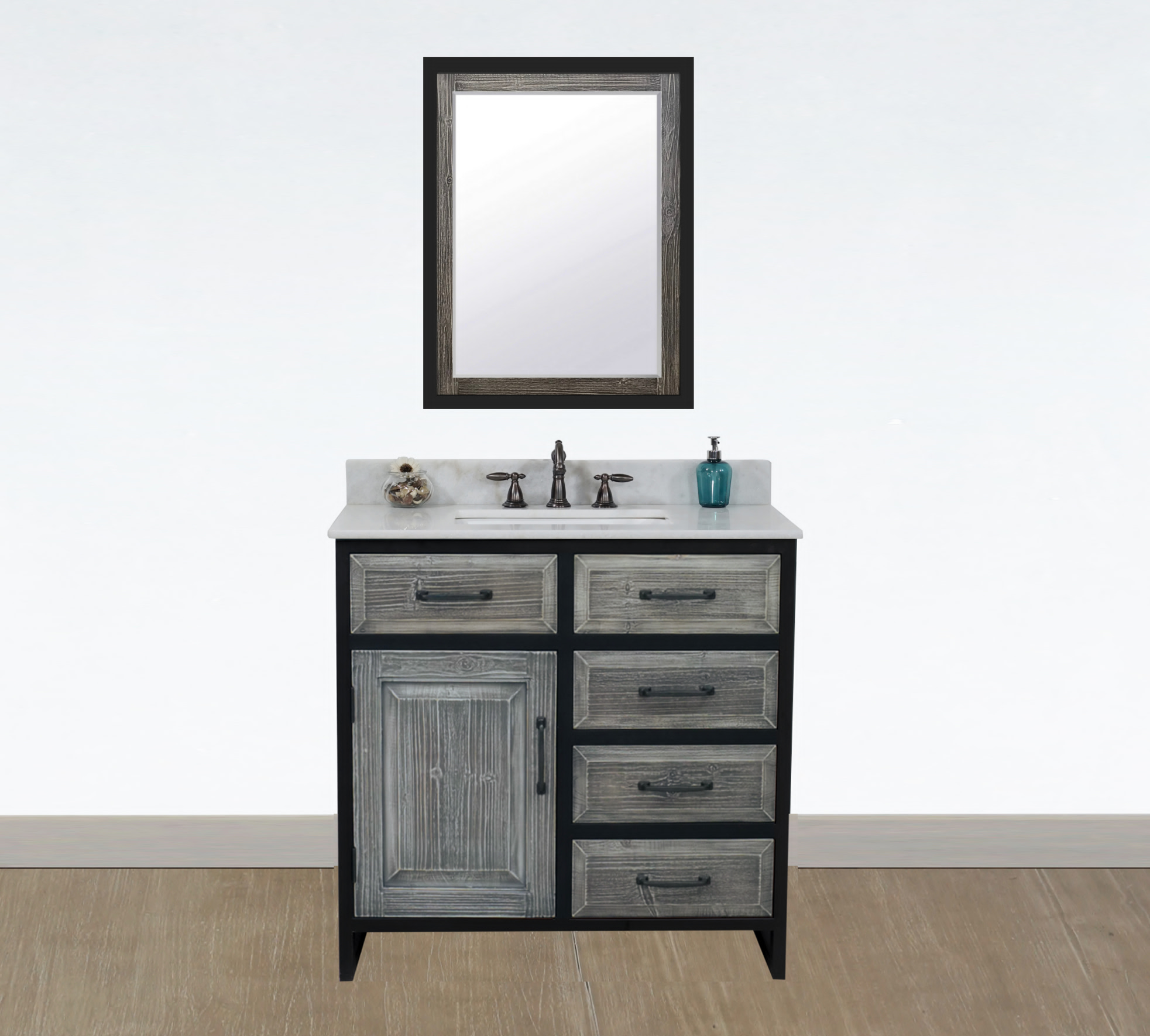 "36"" Rustic Solid Fir Single Sink with Iron Frame Vanity in Grey Driftwood - No Faucet with Countertop Options"