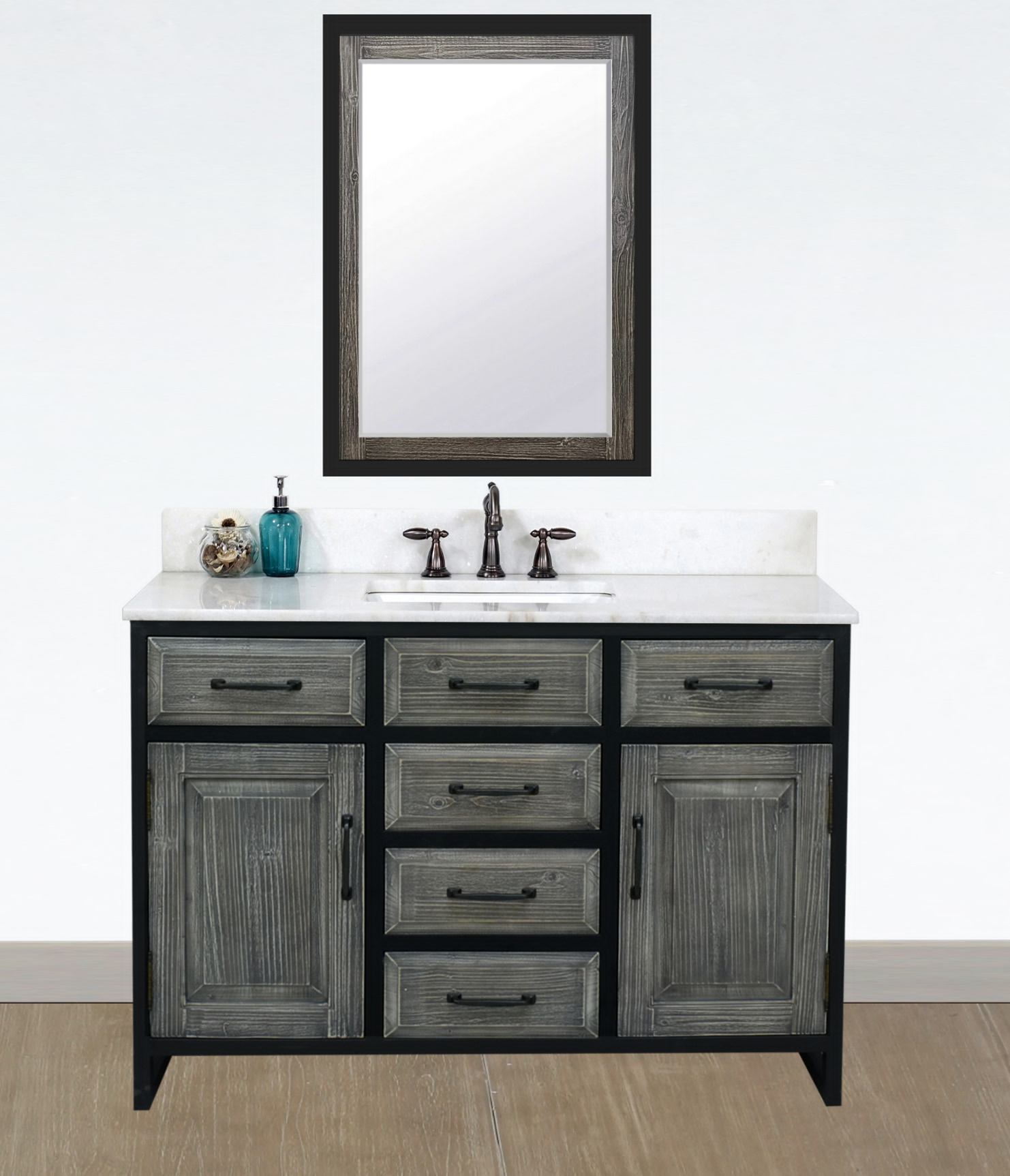 "48"" Rustic Solid Fir Single Sink with Iron Frame Vanity in Grey Driftwood - No Faucet with Countertop Options"