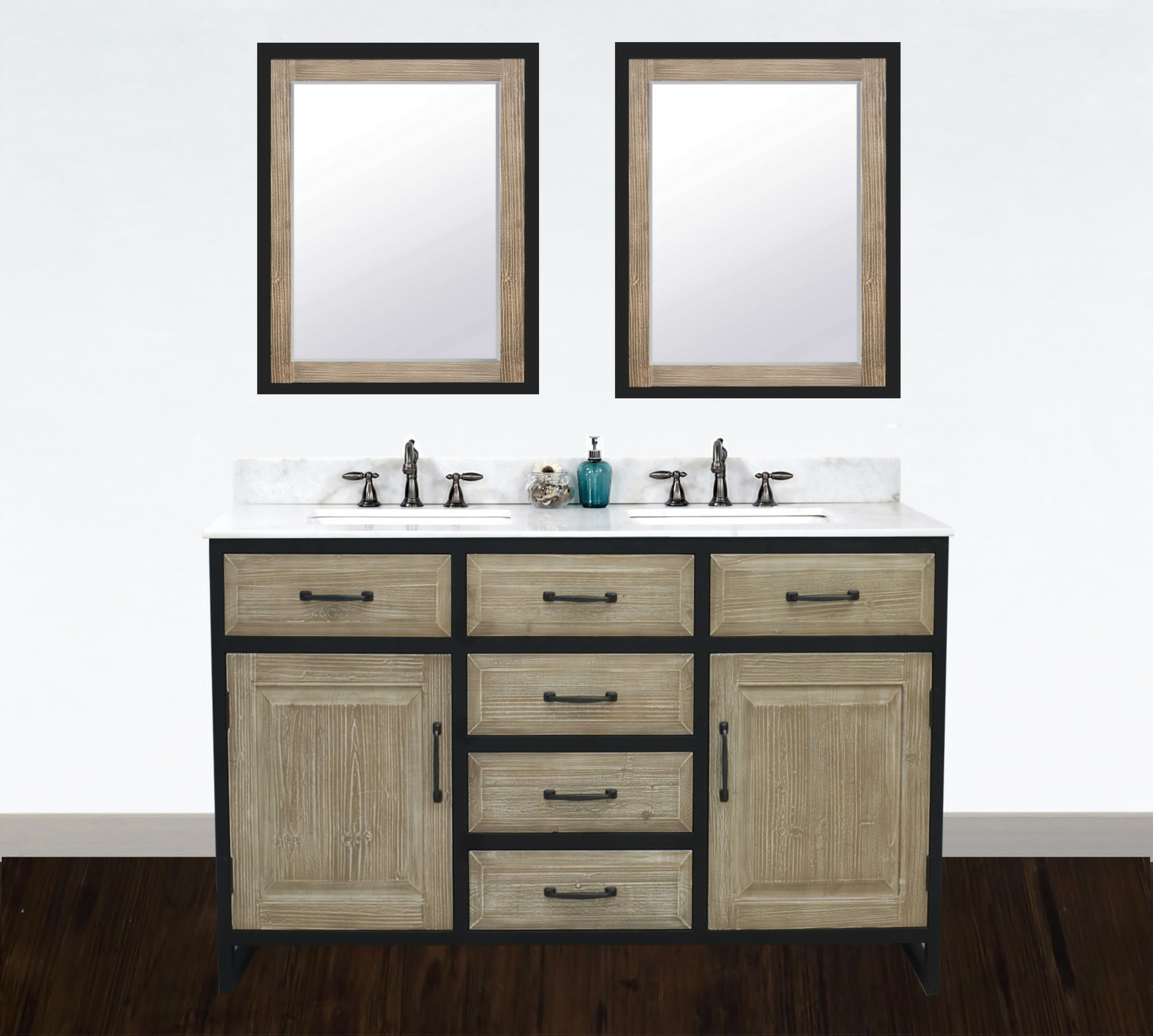"60"" Rustic Solid Fir Double Sink with Iron Frame Vanity - No Faucet with Countertop Options"