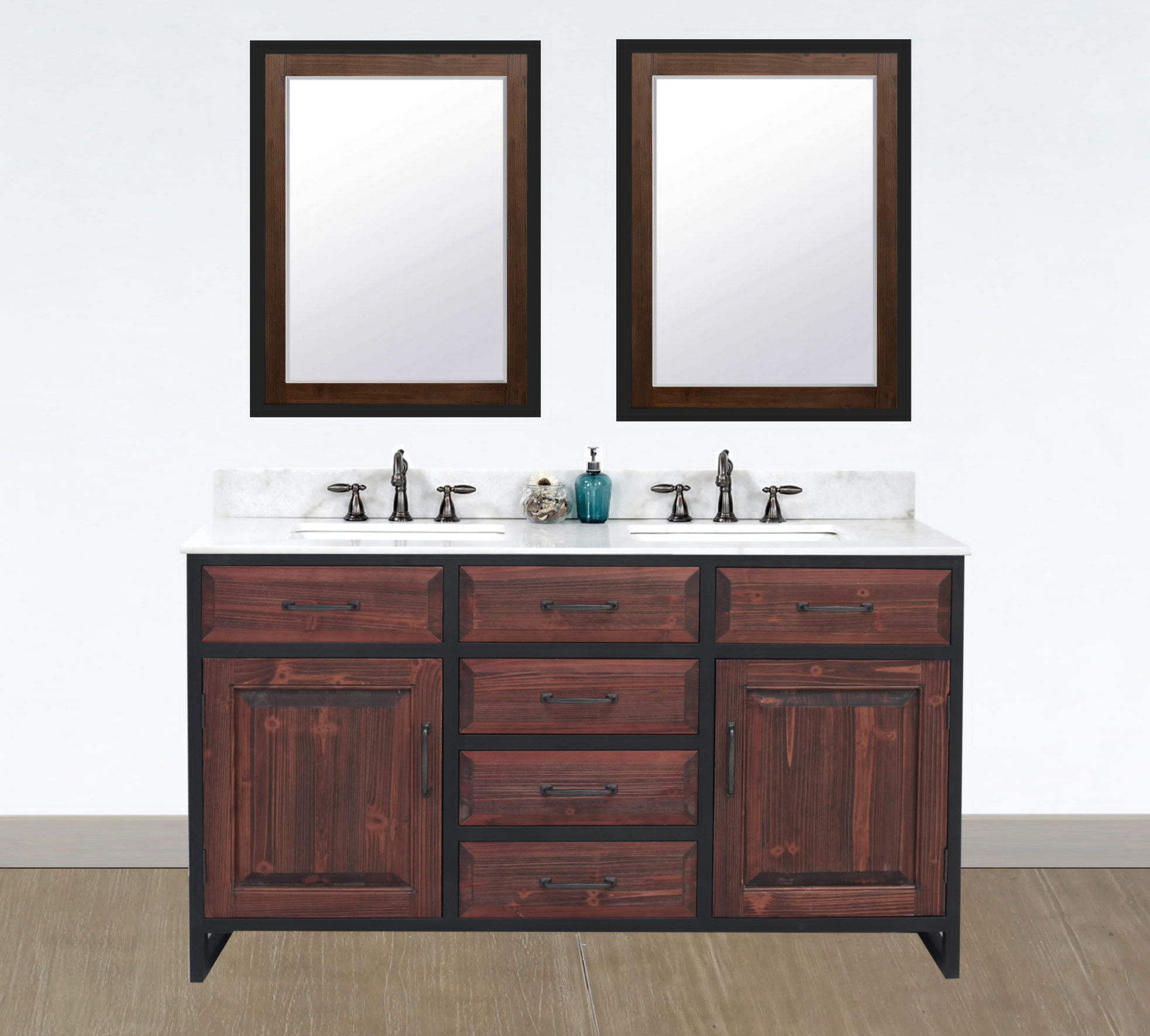 "60"" Rustic Solid Fir Double Sink with Iron Frame Vanity in Brown Driftwood - No Faucet with Countertop Options"