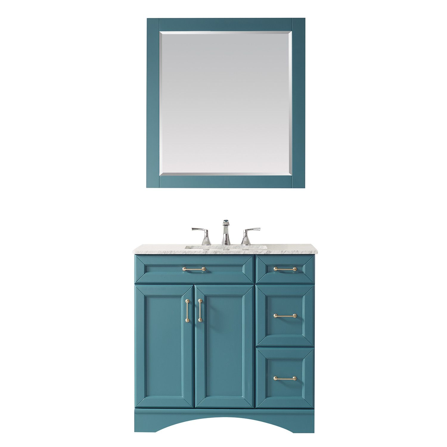 "36"" Vanity in Royal Green with Carrara White Marble Countertop With Mirror"