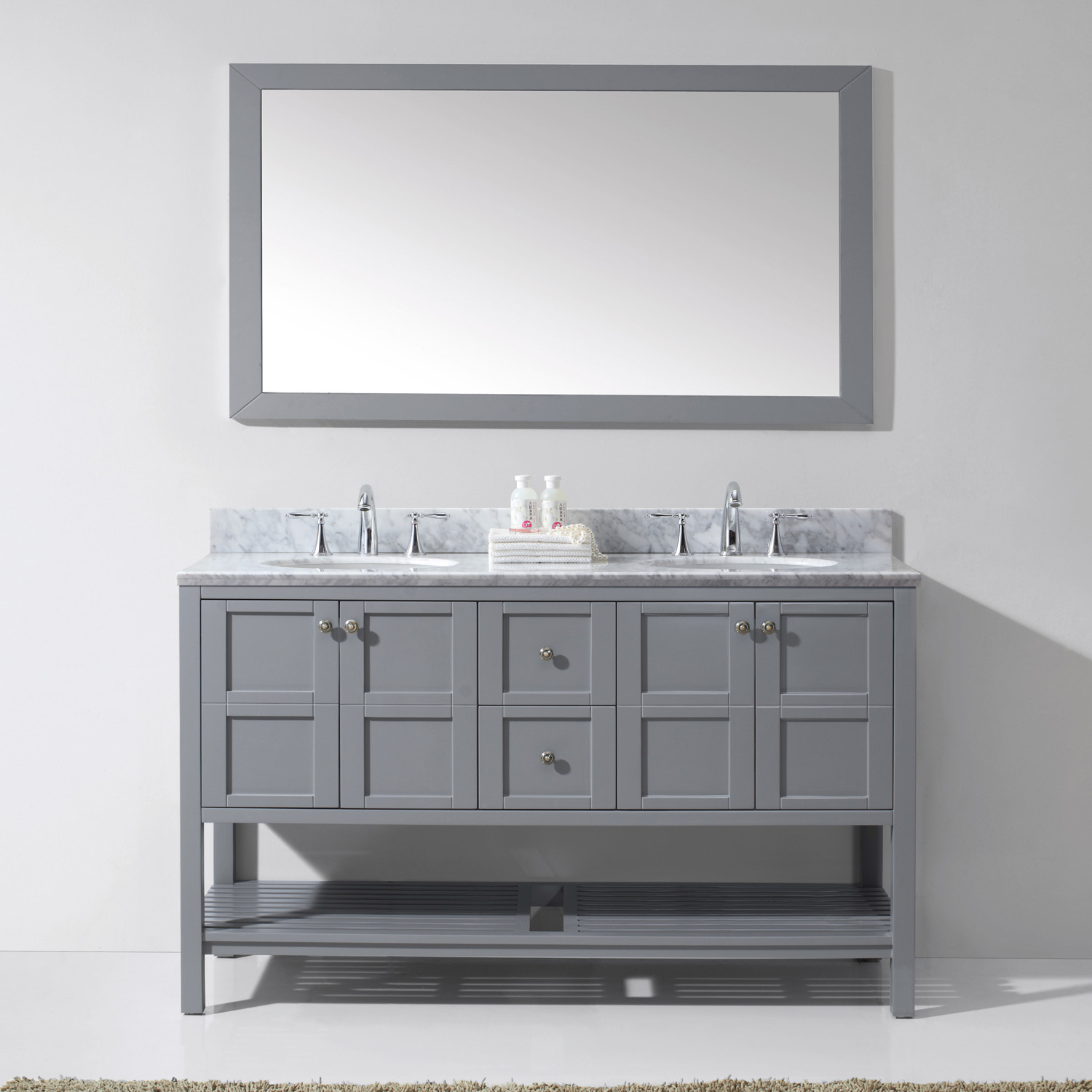 "60"" Double Bath Vanity in Grey Finish with Marble Top and Round Sink with Faucet and Mirror Options"