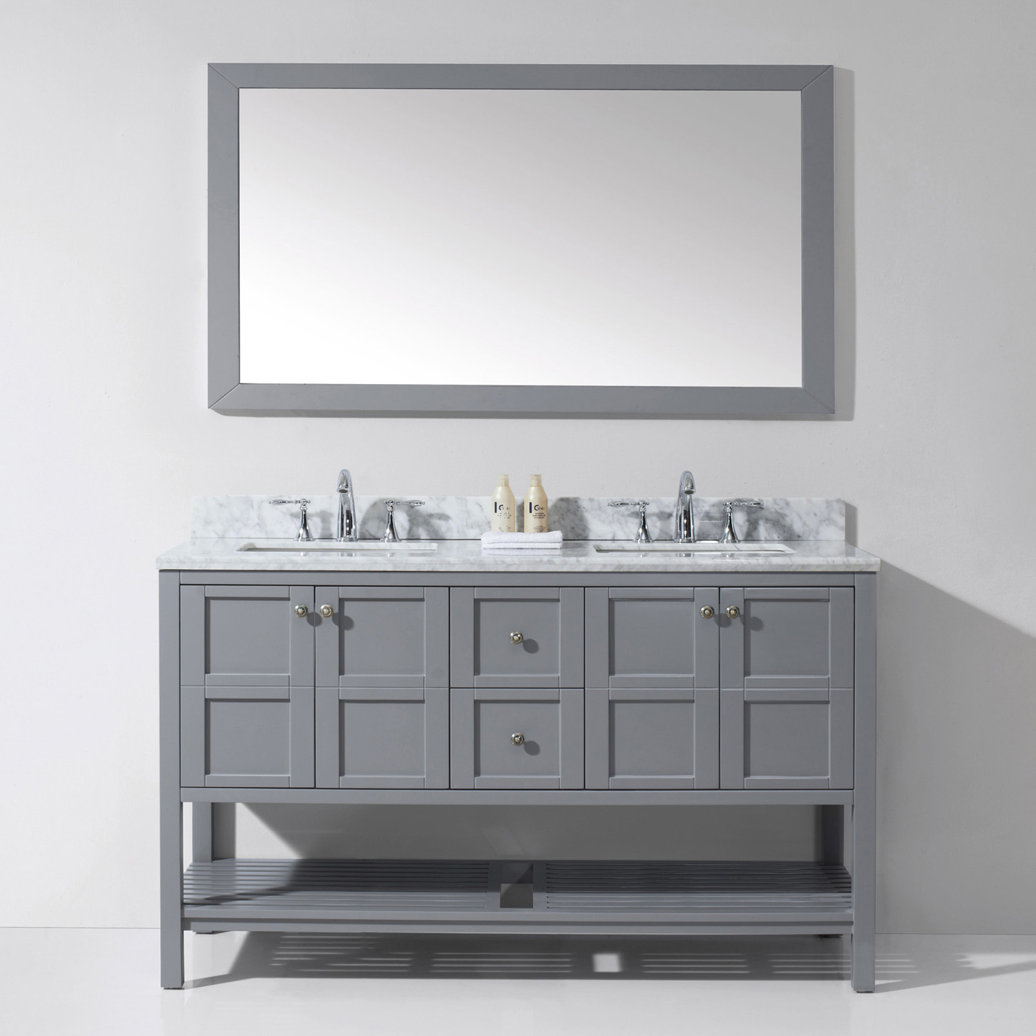 "60"" Double Bath Vanity in Grey Finish with Marble Top and Square Sink with Faucet and Mirror Options"