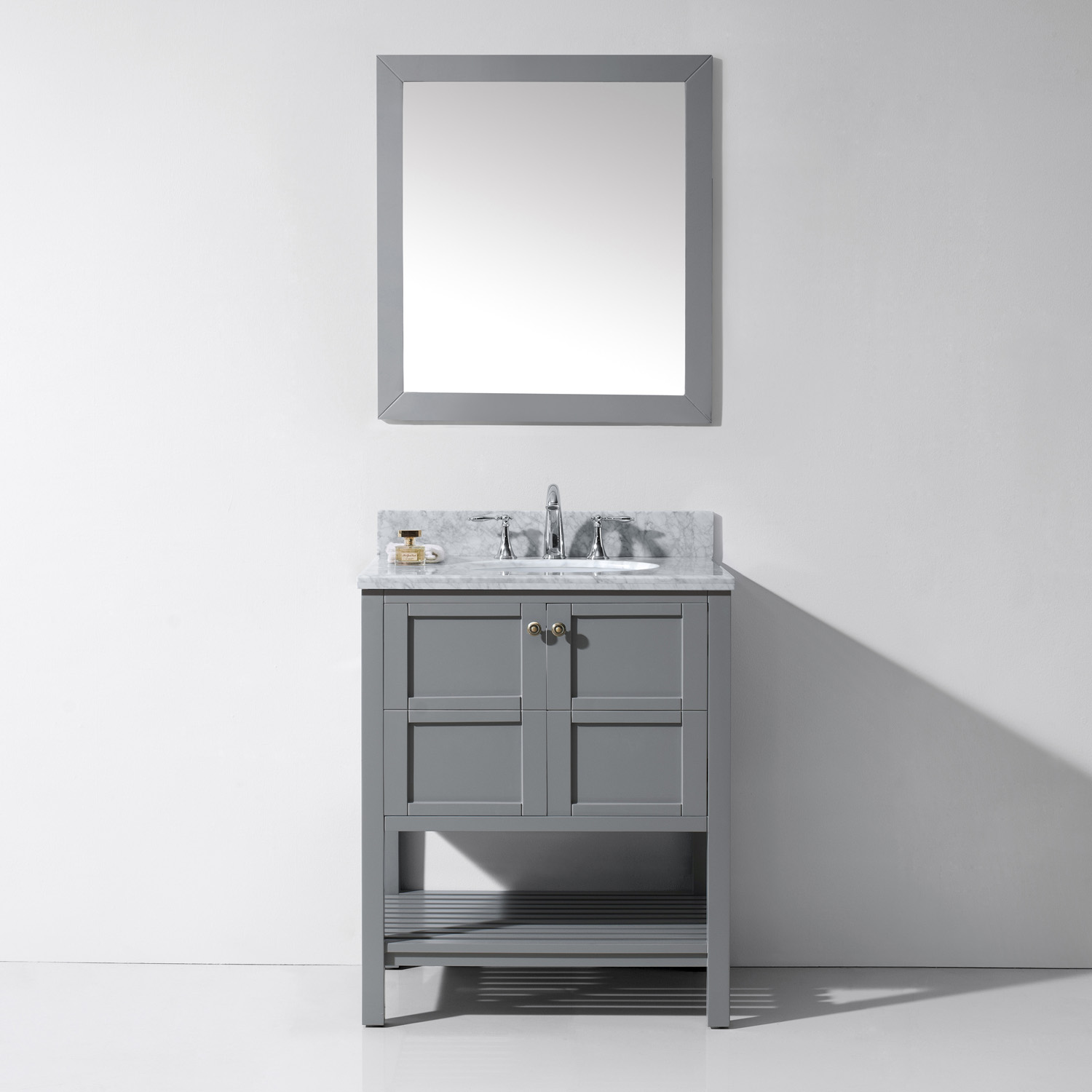 "30"" Single Bath Vanity in Grey with Top, Sink and Mirror Options"