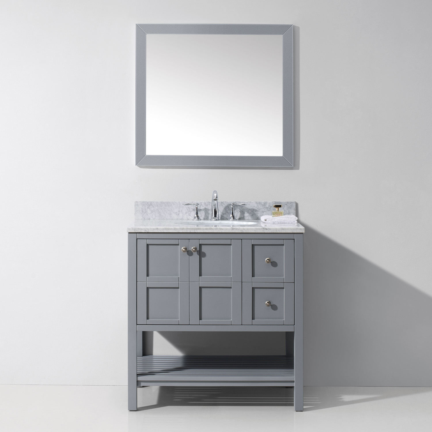 "36"" Single Bath Vanity in Grey with Top, Sink and Mirror Options"