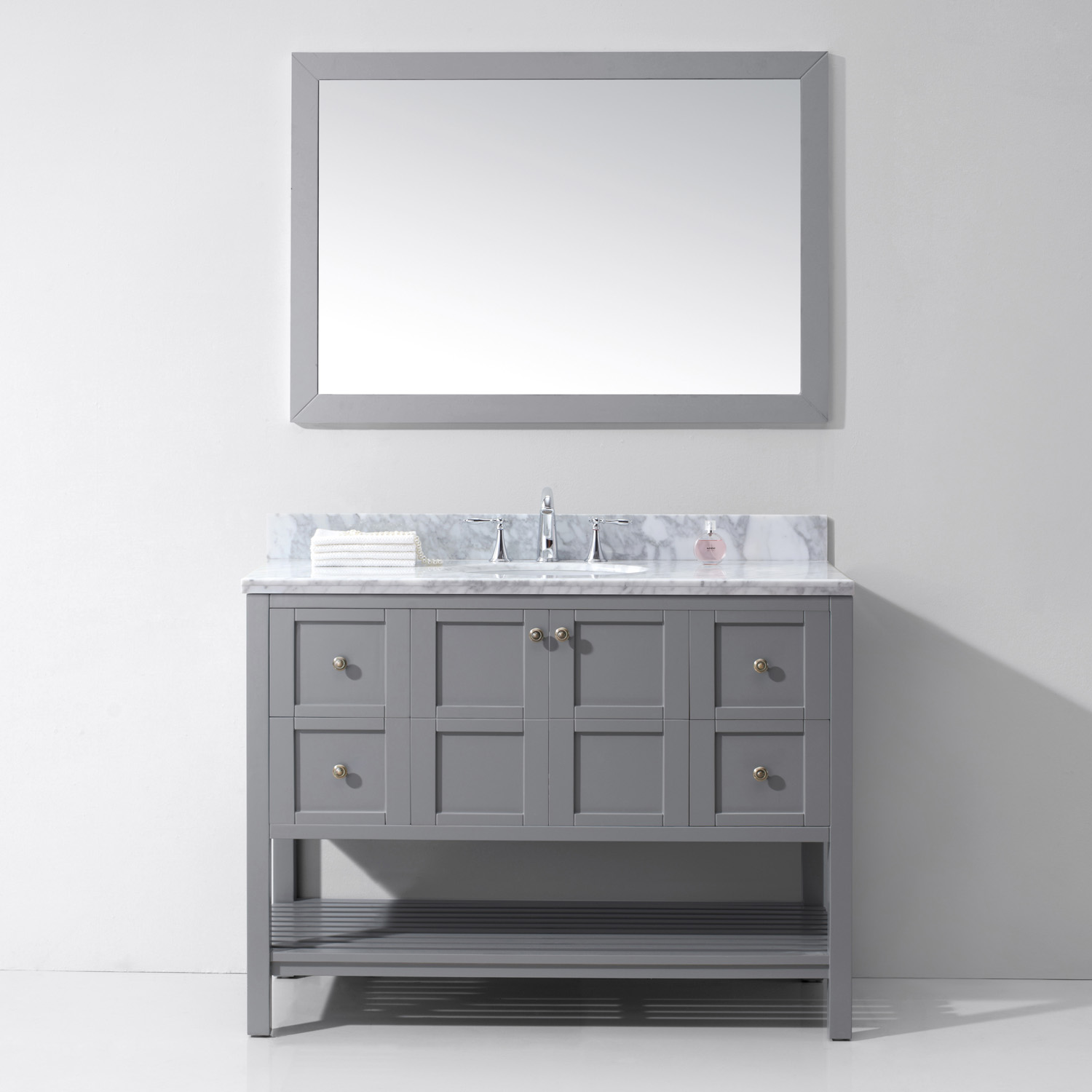 "48"" Single Bath Vanity in Grey with Top, Sink and Mirror Options"