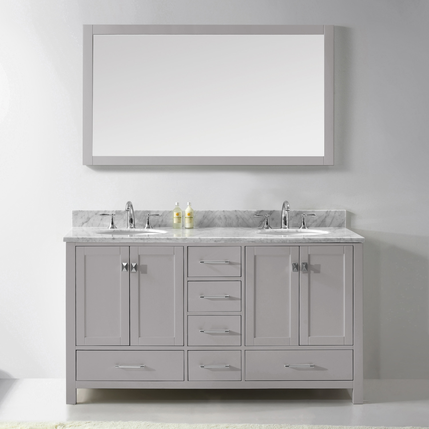 "60"" Cabinet Only in Cashmere Grey with Top, Faucet and Mirror Options"
