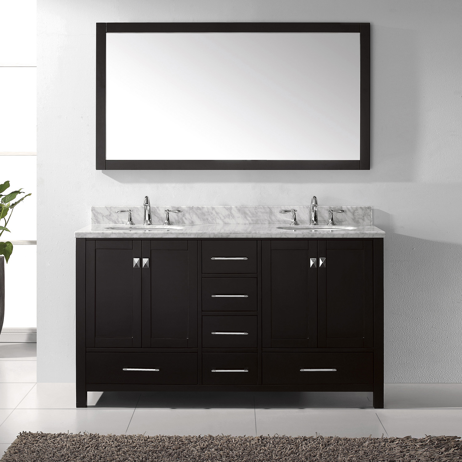 "60"" Cabinet Only in Espresso with Top, Faucet and Mirror Options"