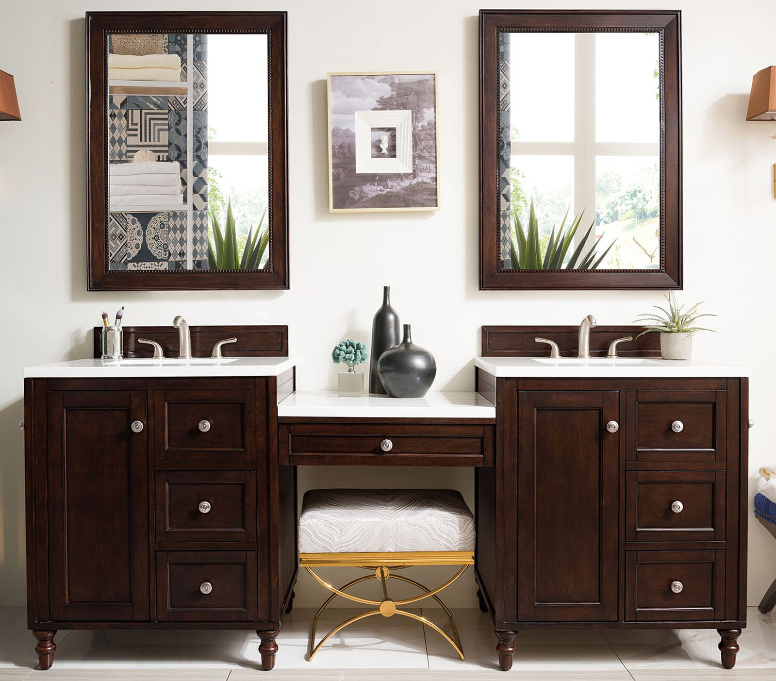 "James Martin Copper Cove Encore Collection 86"" Double Vanity Set, Burnished Mahogany with Makeup Table 3 CM Carrara Marble Top"