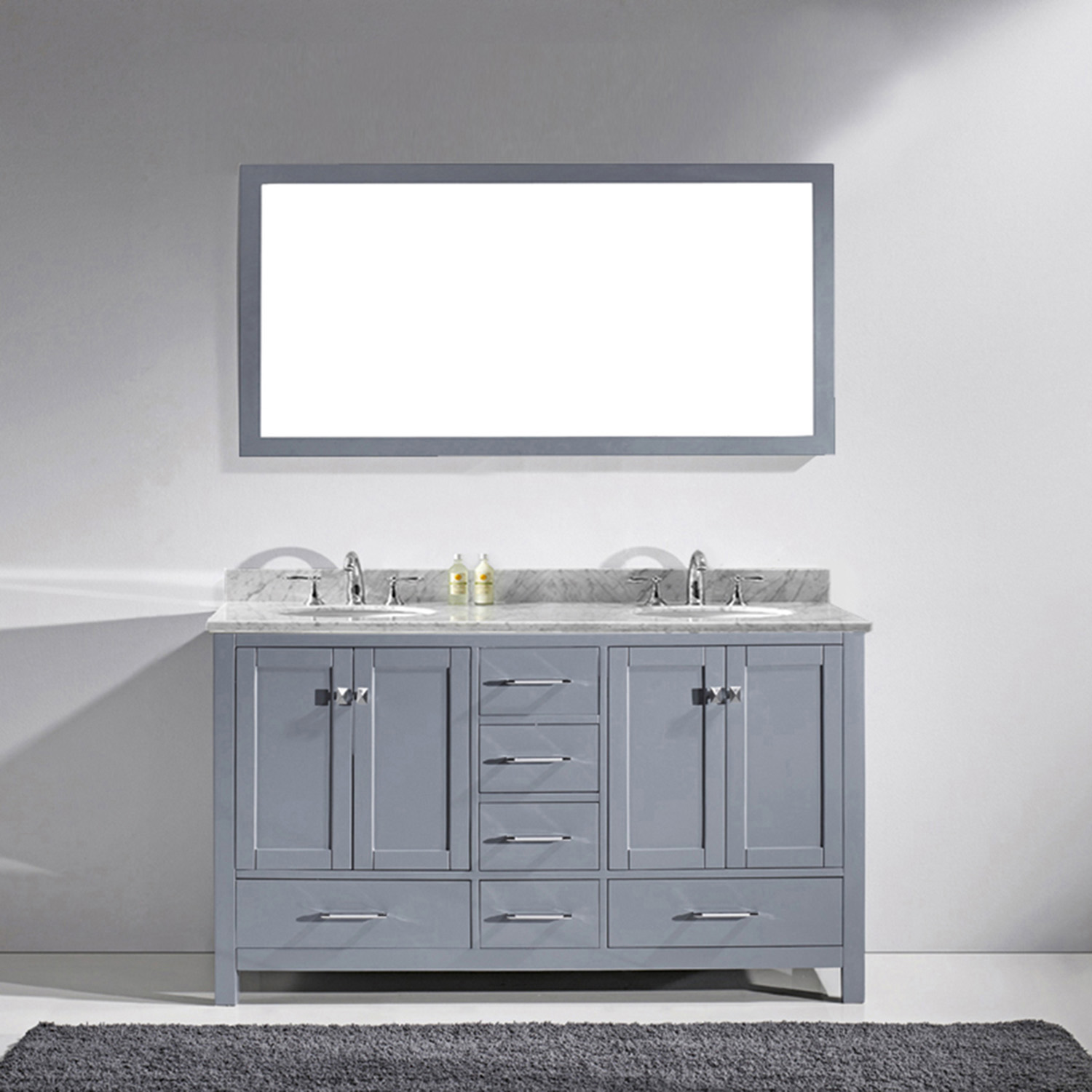 "60"" Cabinet Only in Grey with Top, Faucet and Mirror Options"