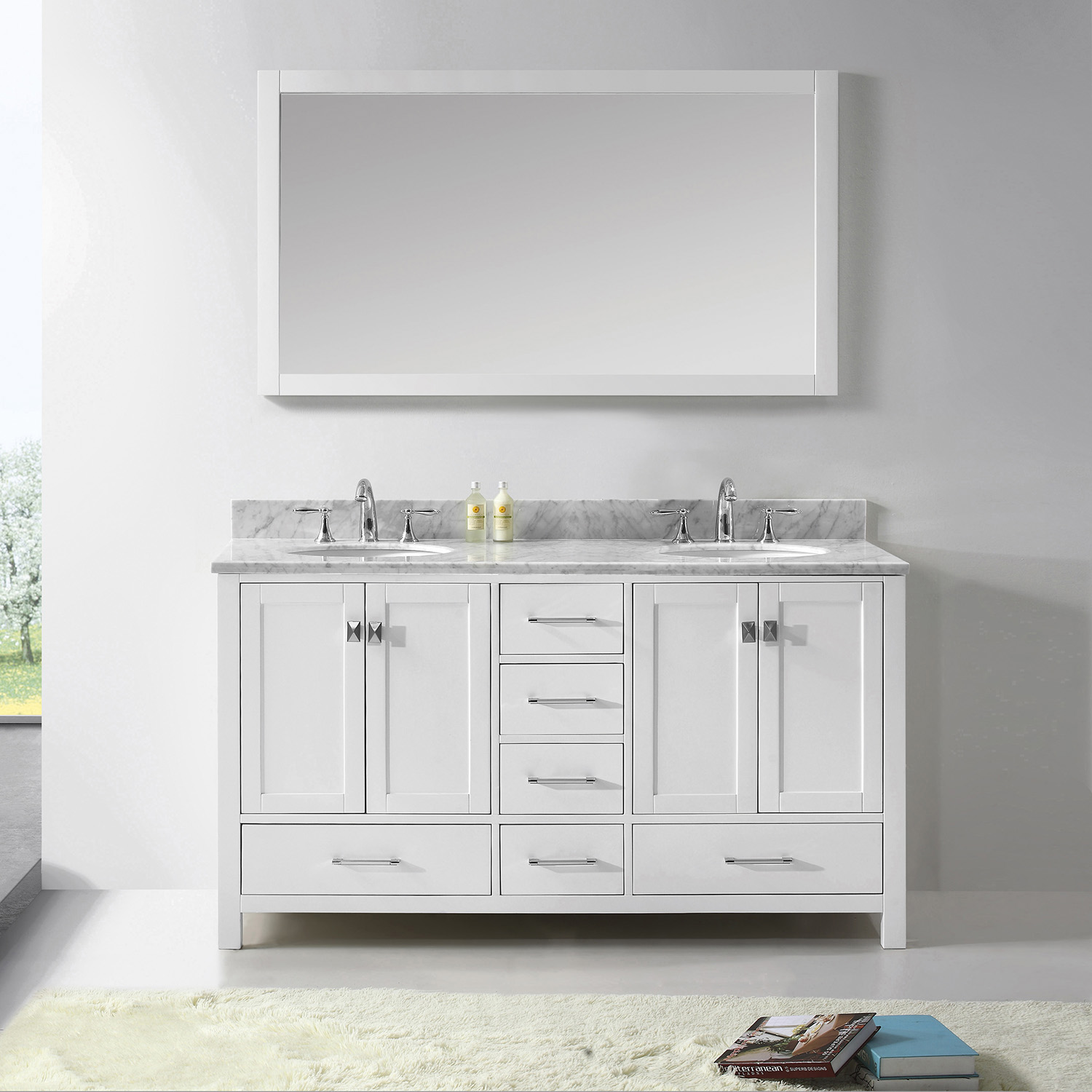 "60"" Cabinet Only in White Finish with Top, Faucet and Mirror Options"