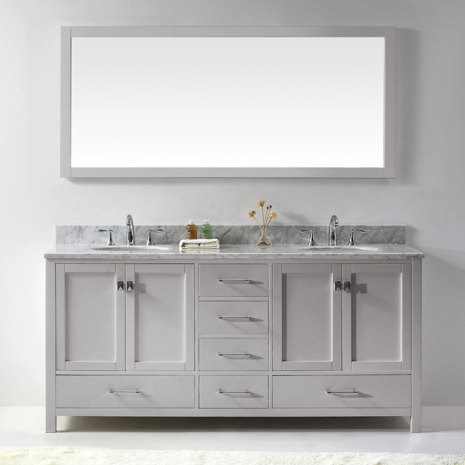 "72"" Cabinet Only in Cashmere Grey with Top, Faucet and Mirror Options"