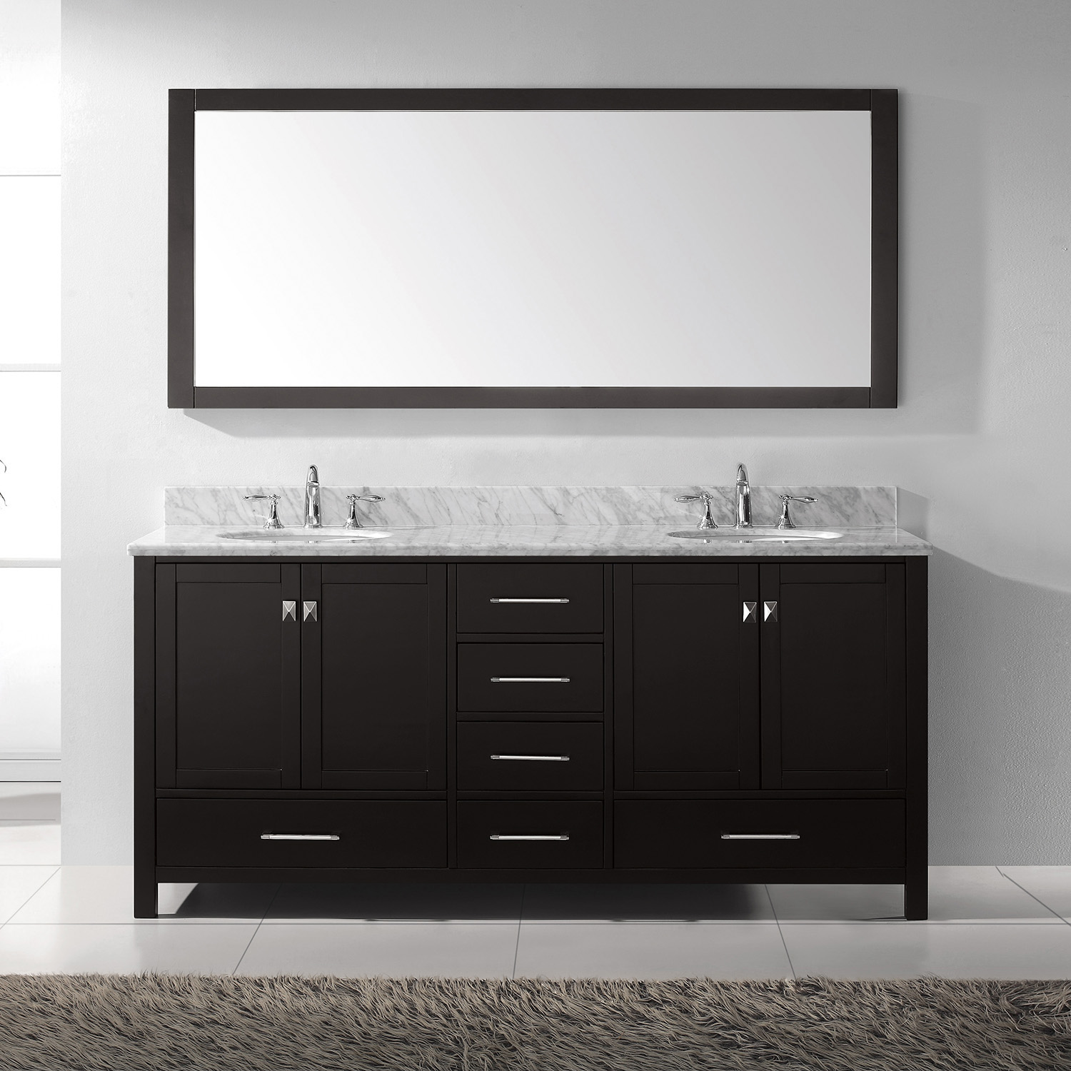 "72"" Cabinet Only in Espresso with Top, Faucet and Mirror Options"
