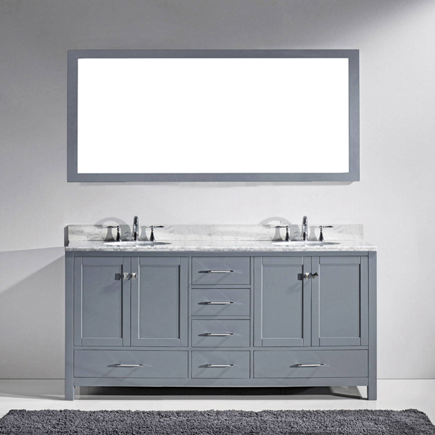 "72"" Cabinet Only in Gray with Top, Faucet and Mirror Options"