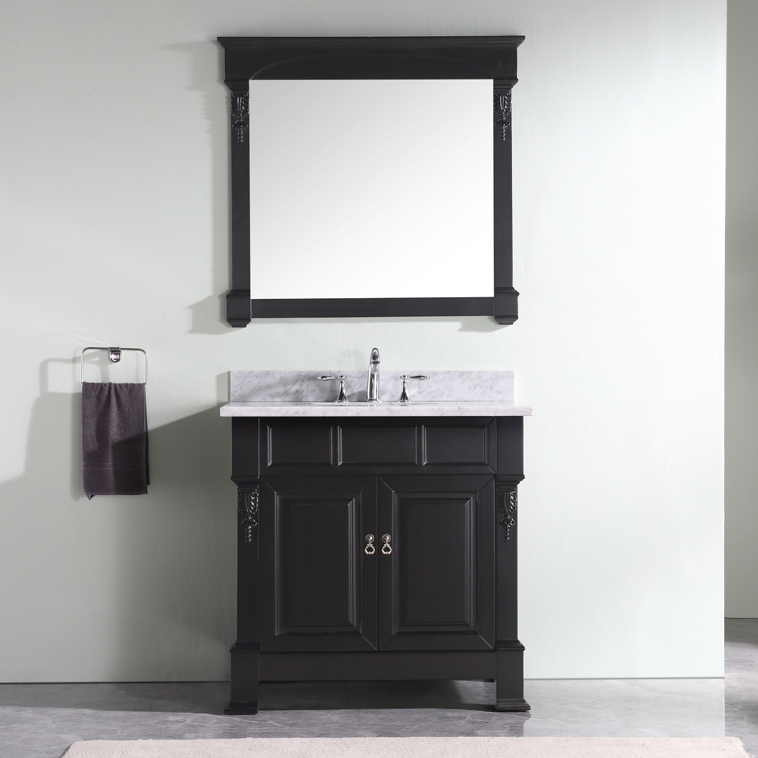 "36"" Cabinet Only in Dark Walnut with Top, Mirror and Faucet Options"