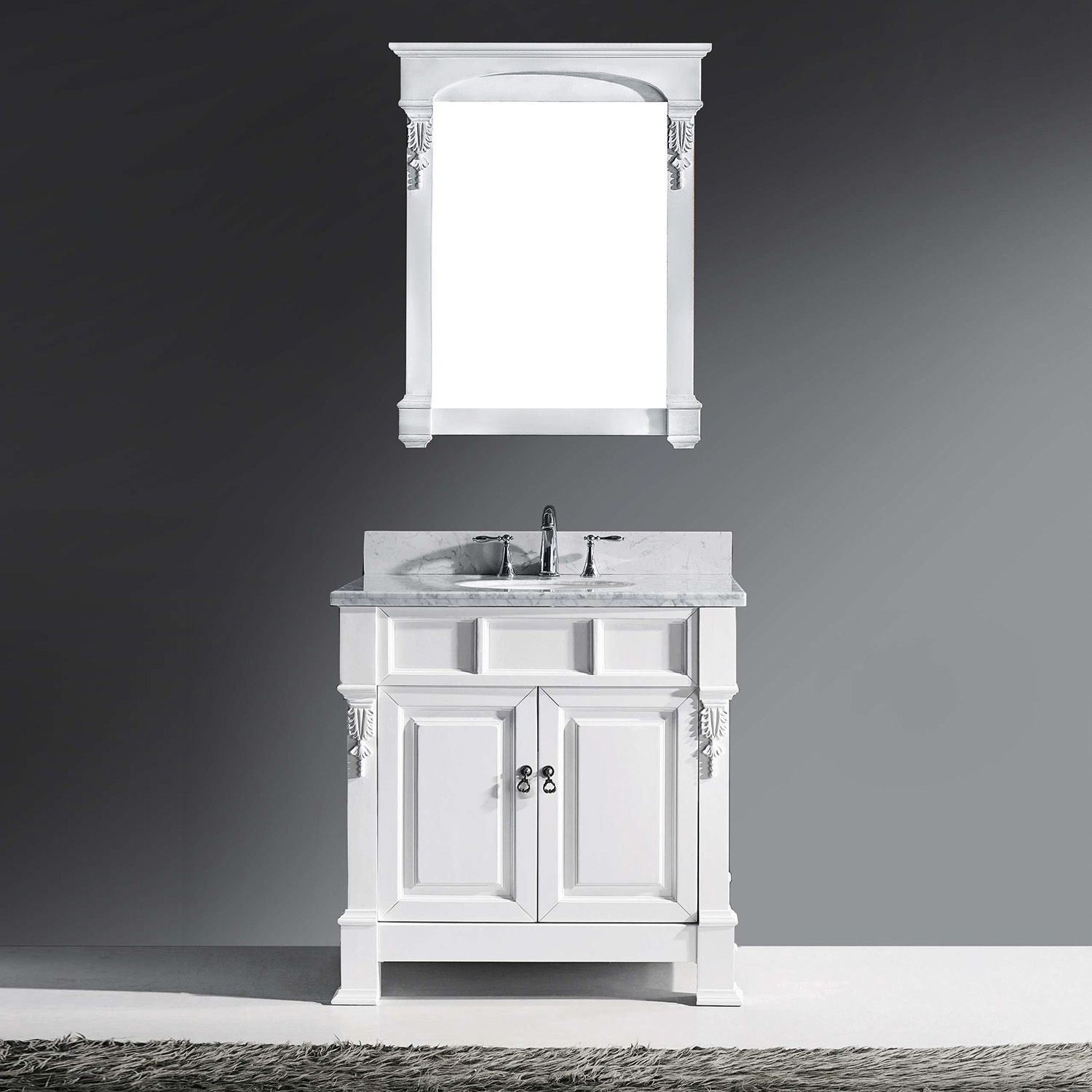 "36"" Cabinet Only in White with Top, Mirror and Faucet Options"