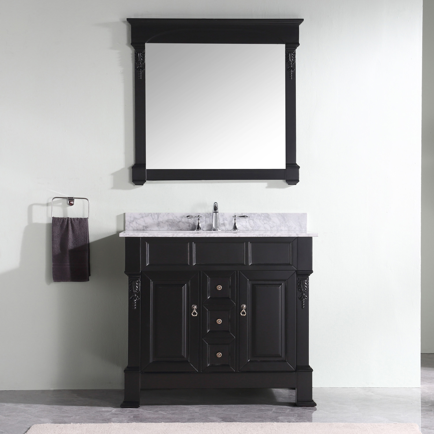 "40"" Cabinet Only in Dark Walnut with Top, Mirror and Faucet Options"