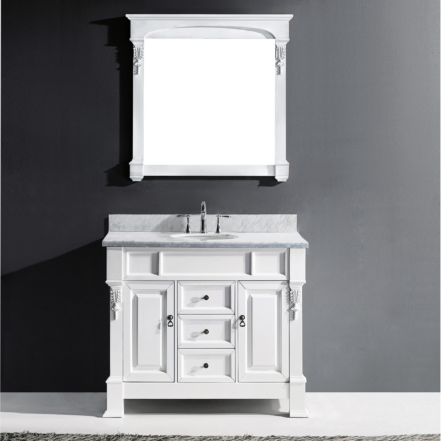 "40"" Cabinet Only in White with Top, Mirror and Faucet Options"