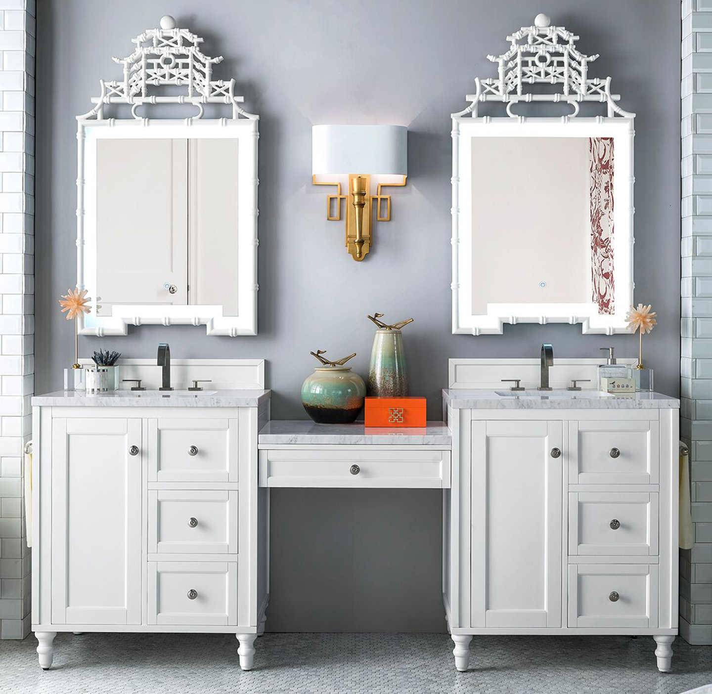 """James Martin Copper Cove Encore Collection 86"""" Double Vanity Set, Bright White with Makeup Table, 3 CM Carrara Marble Top"""