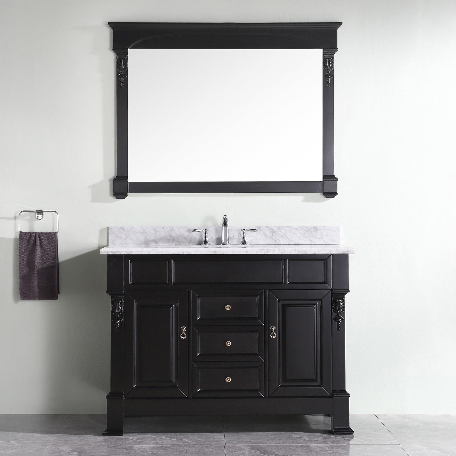 "48"" Traditional Dark Walnut Vanity with Top, Mirror and Faucet Options"