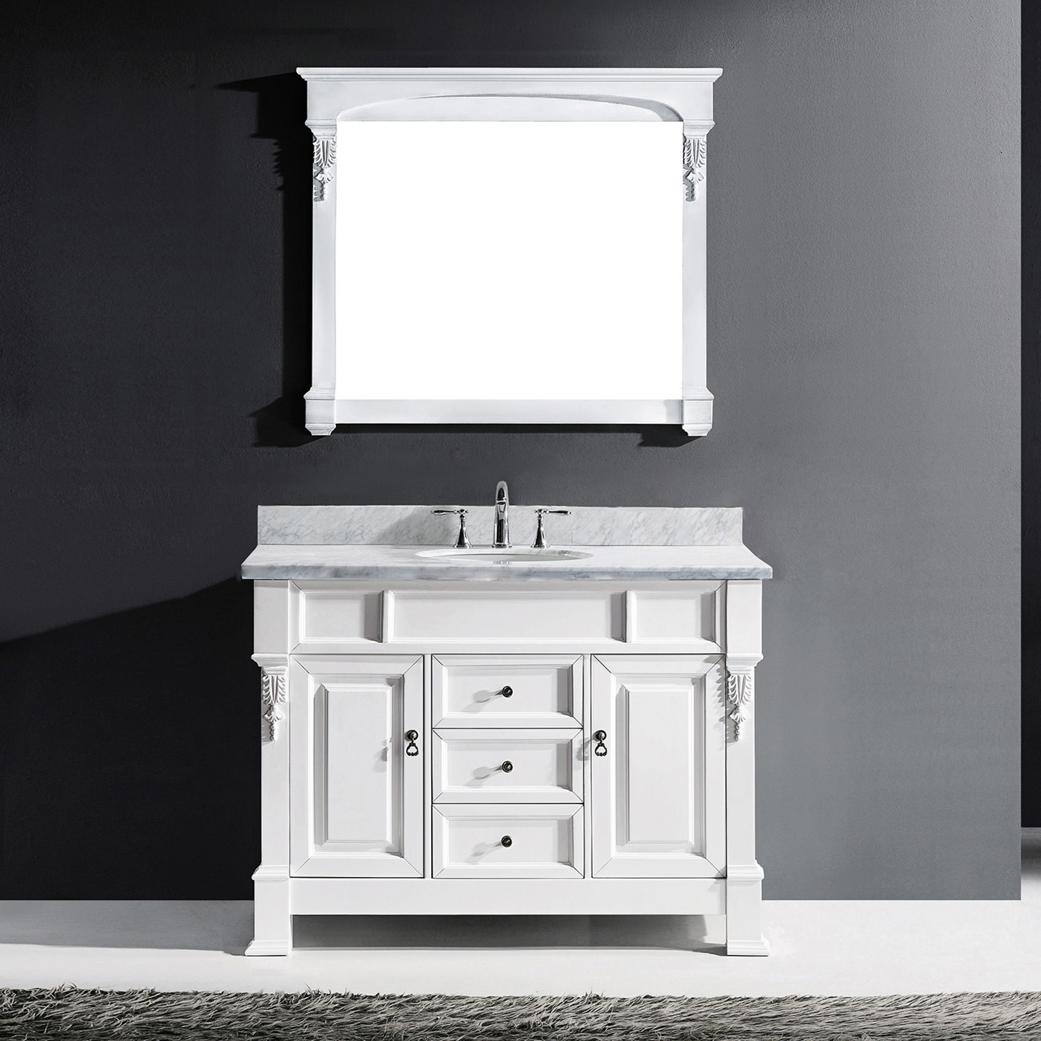 "48"" Cabinet Only in White with Top, Mirror and Faucet Options"