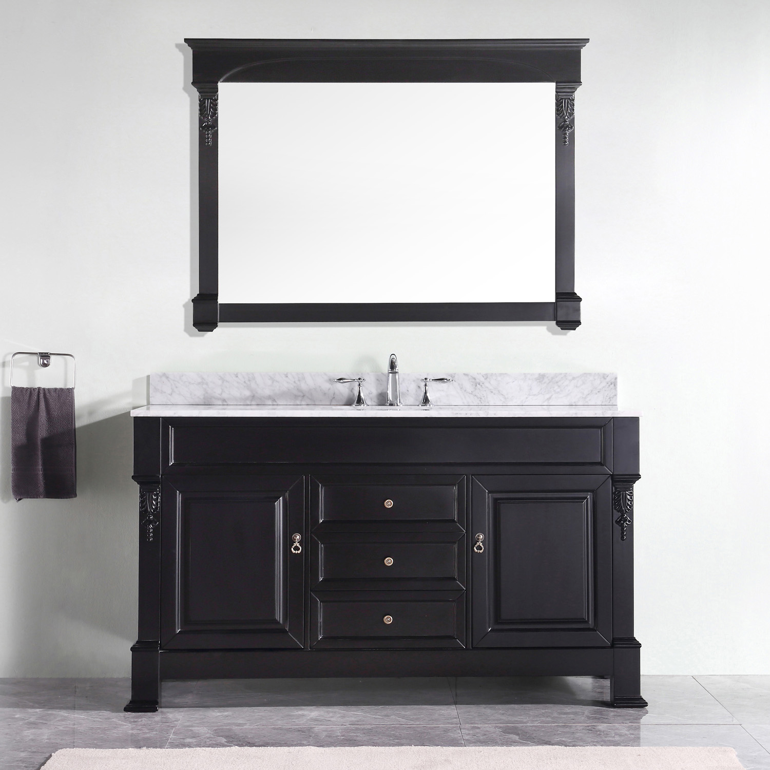 "60"" Cabinet Only in Dark Walnut with Top, Mirror and Faucet Options"