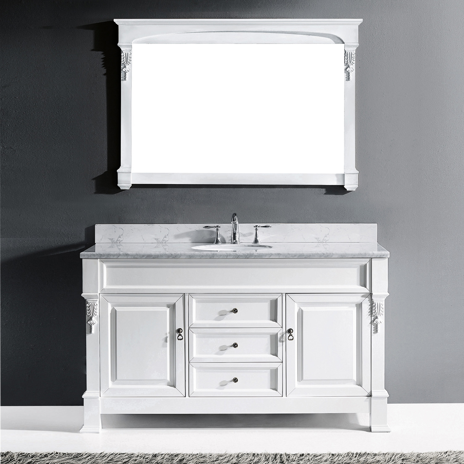 "60"" Cabinet Only in White with Top, Mirror and Faucet Options"