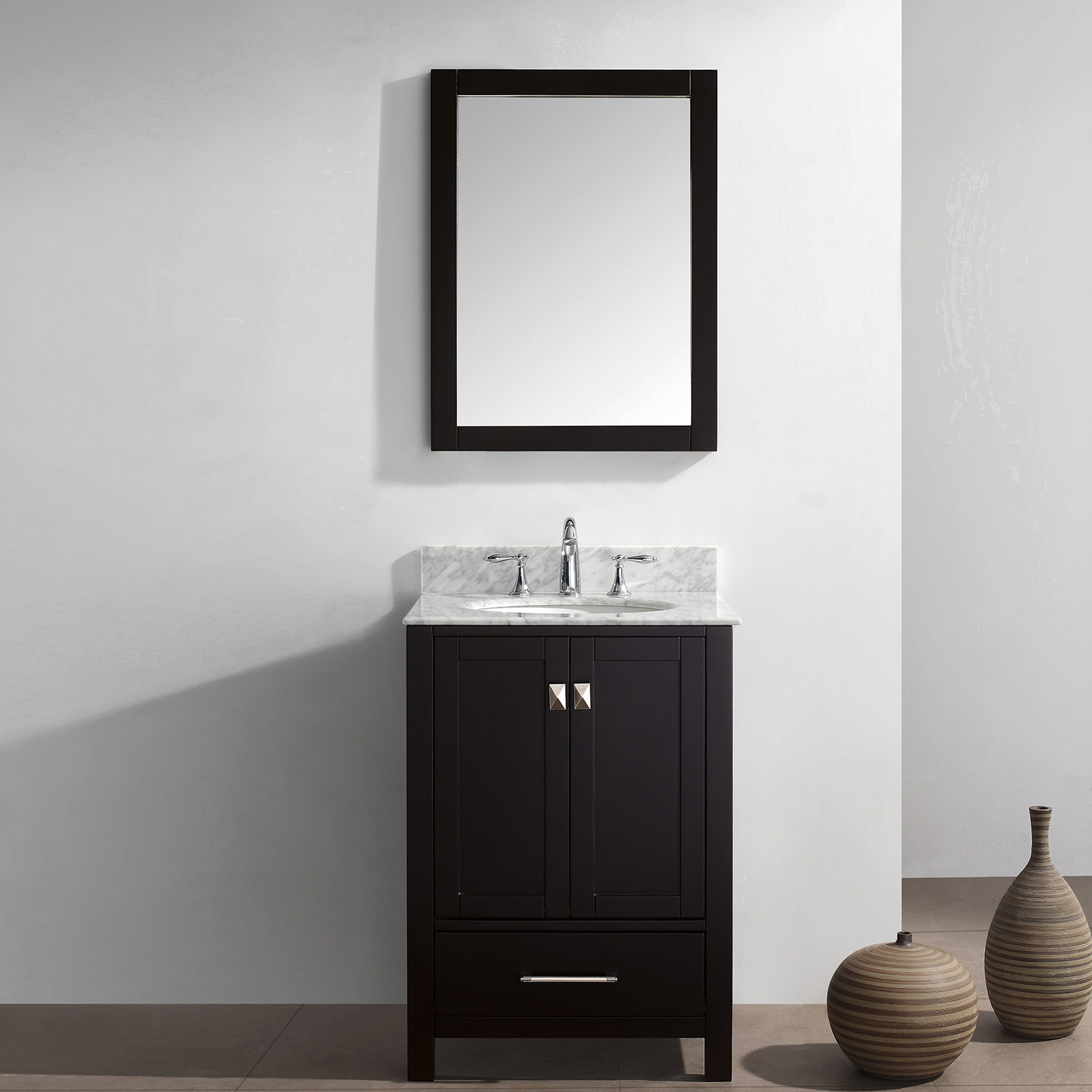 "24"" Cabinet Only in Espresso with Top, Faucet and Mirror Options"