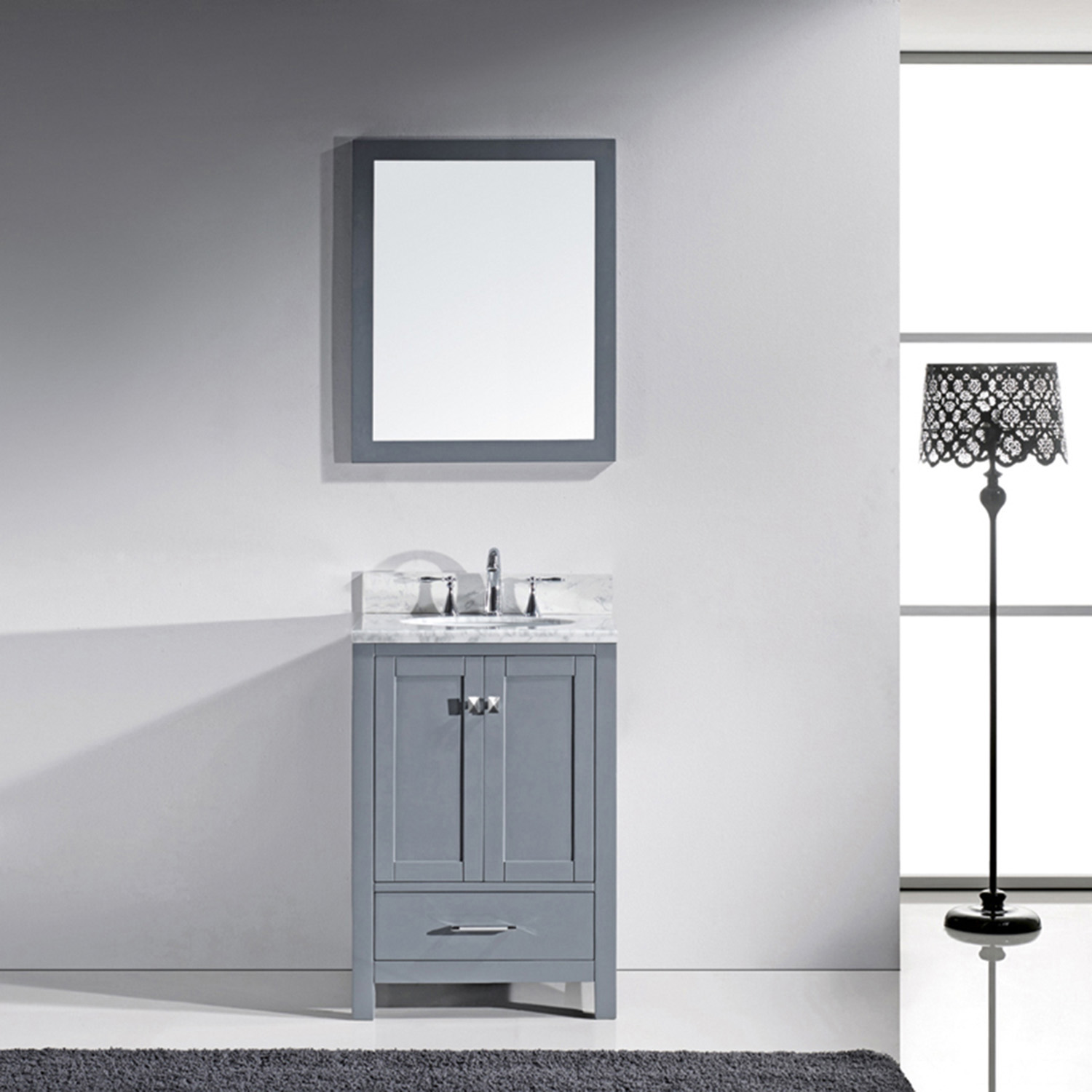 "24"" Cabinet Only in Grey with Top, Faucet and Mirror Options"
