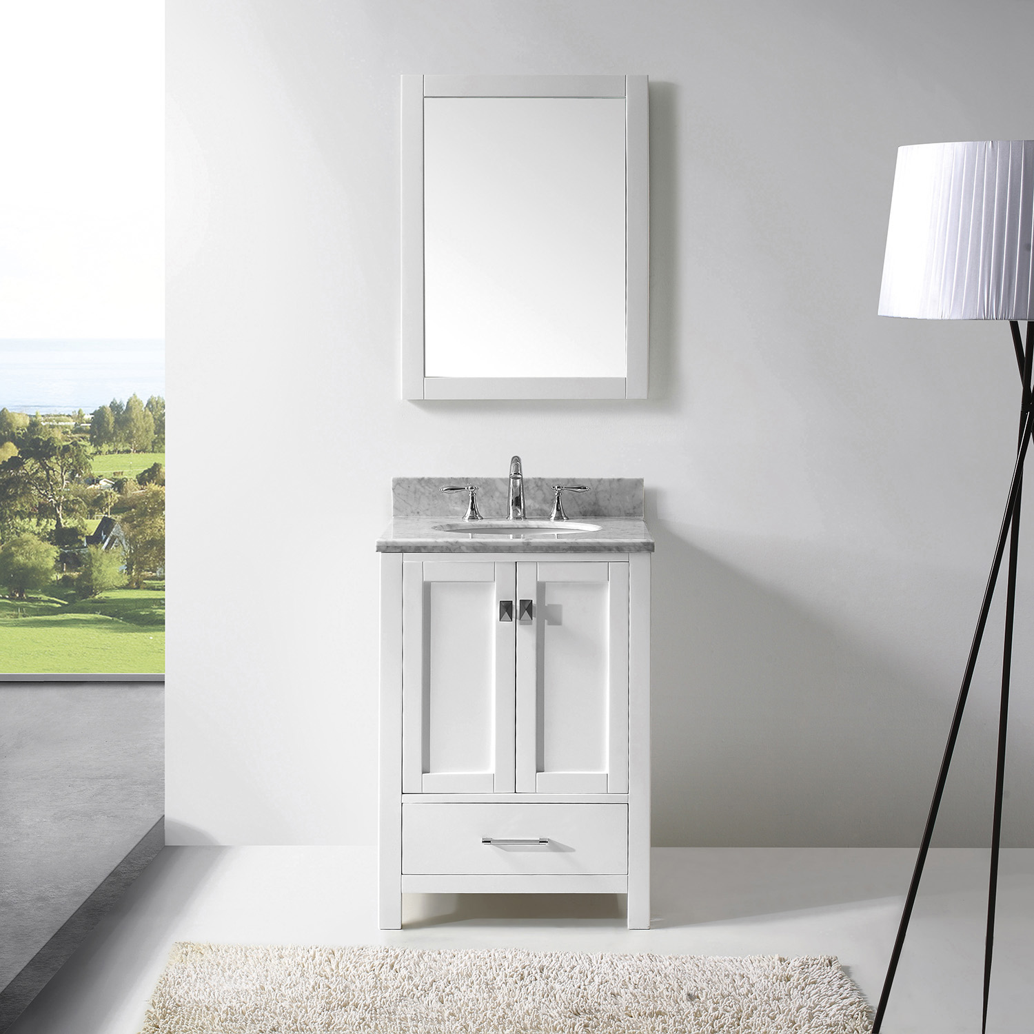 "24"" Cabinet Only in White Finish with Top, Faucet and Mirror Options"