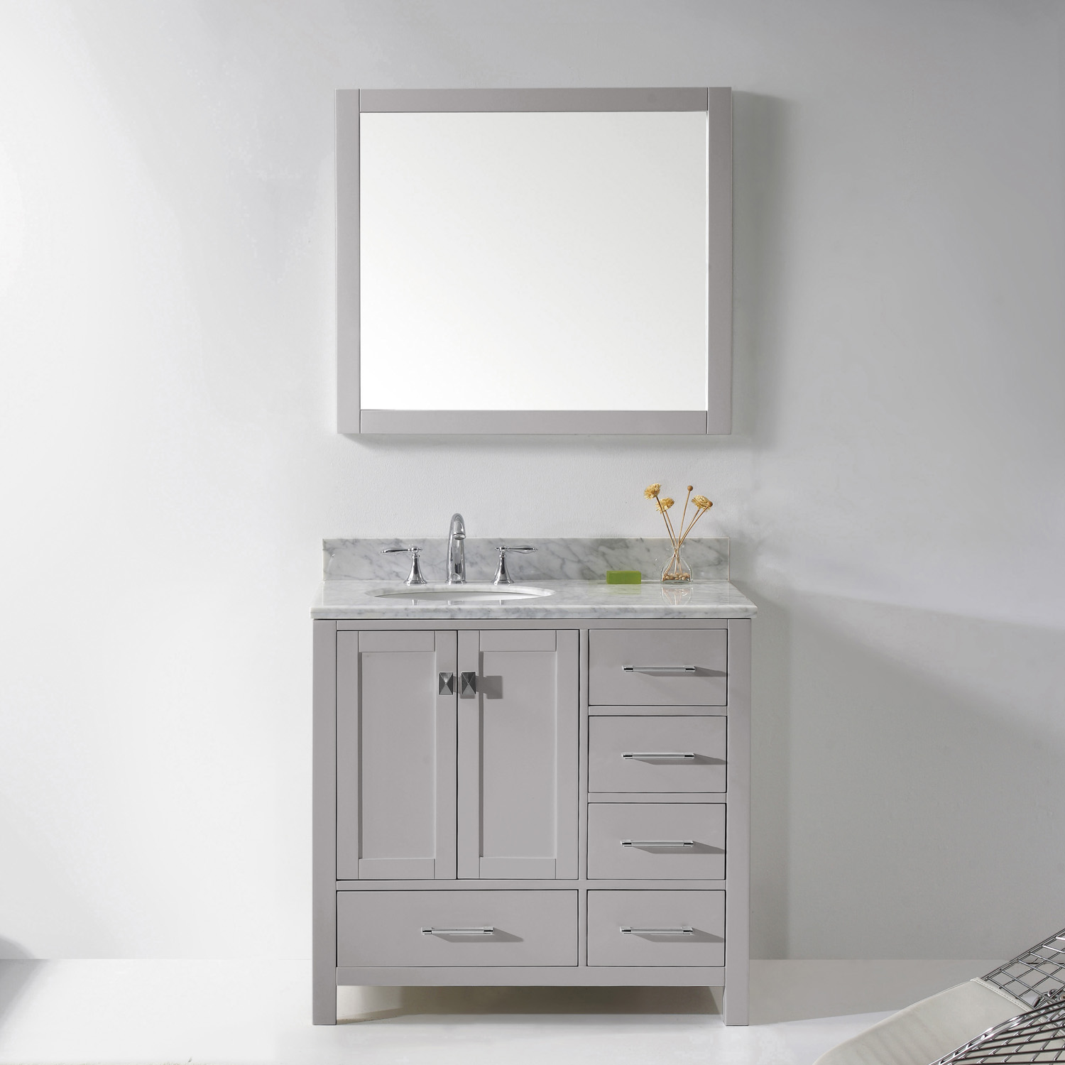 "36"" Cabinet Only in Cashmere Grey with Top, Faucet and Mirror Options"