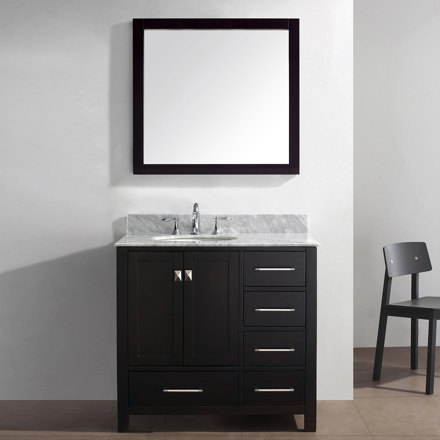 "36"" Cabinet Only in Espresso with Top, Faucet and Mirror Options"