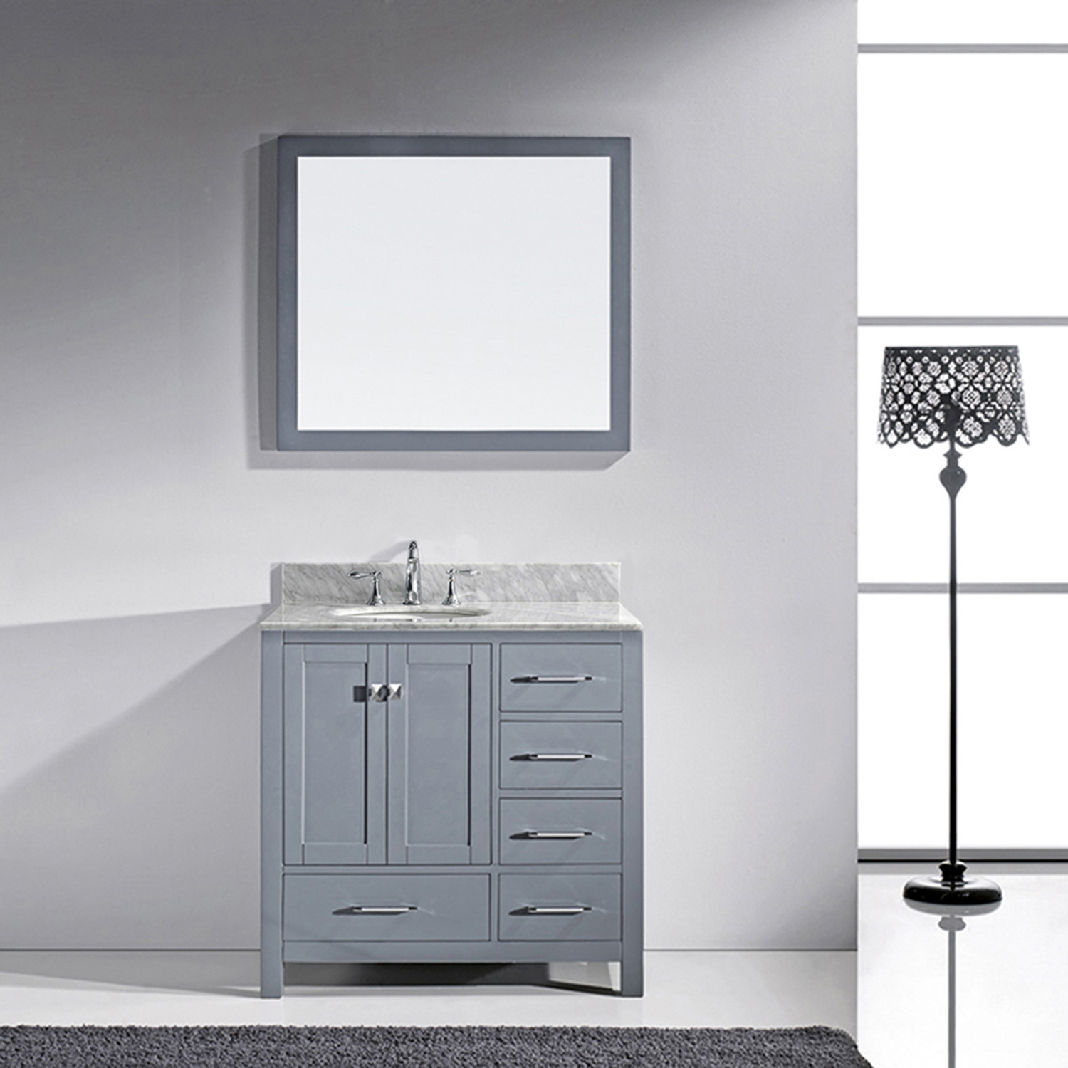 "36"" Cabinet Only in Grey with Top, Faucet and Mirror Options"