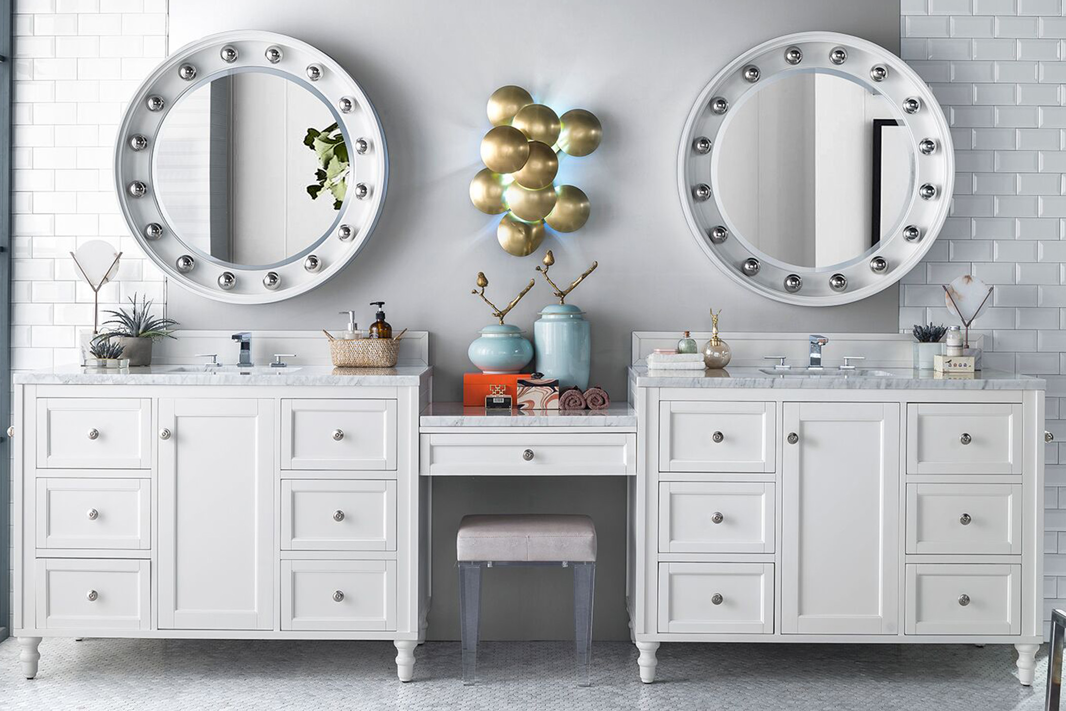 "James Martin Copper Cove Encore Collection 122"" Double Vanity Set, Bright White with Makeup Table"