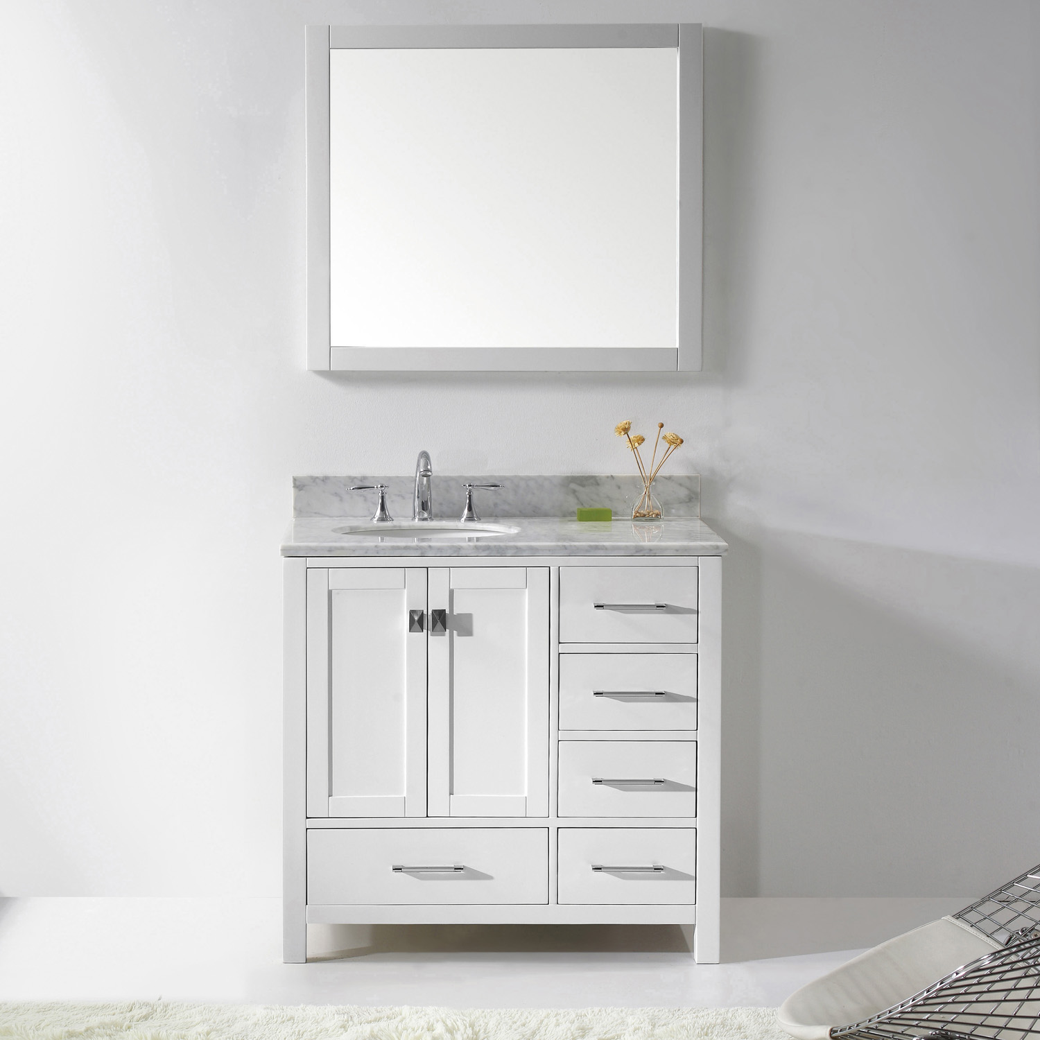 "36"" Cabinet Only in White with Top, Faucet and Mirror Options"