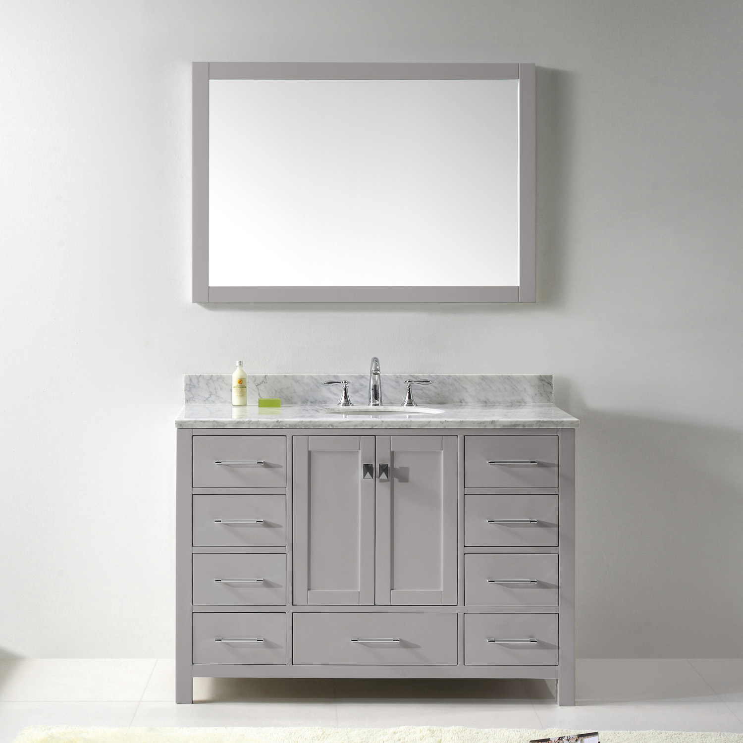 "48"" Cabinet Only in Cashmere Grey with Top, Faucet and Mirror Options"