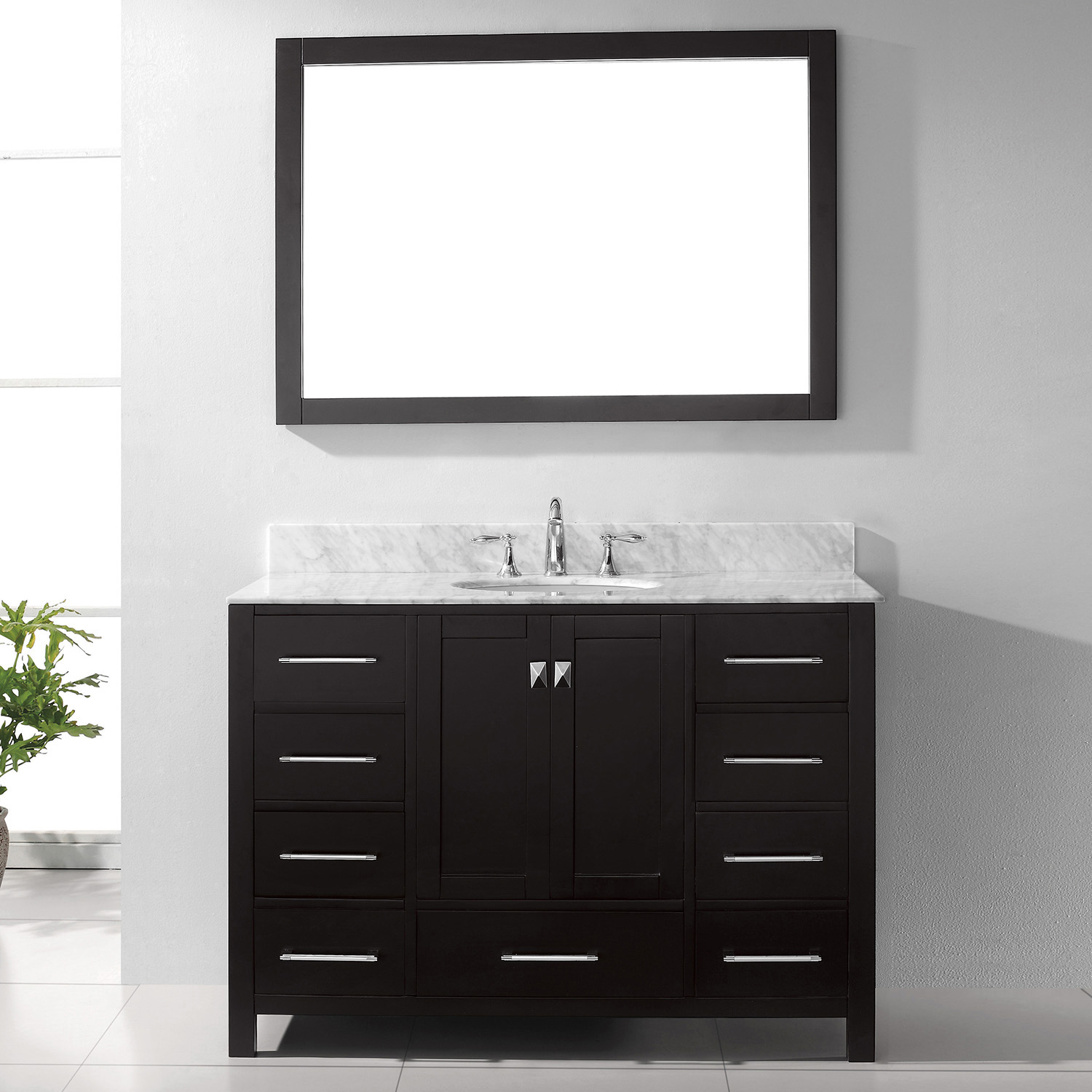 "48"" Cabinet Only in Espresso with Top, Faucet and Mirror Options"